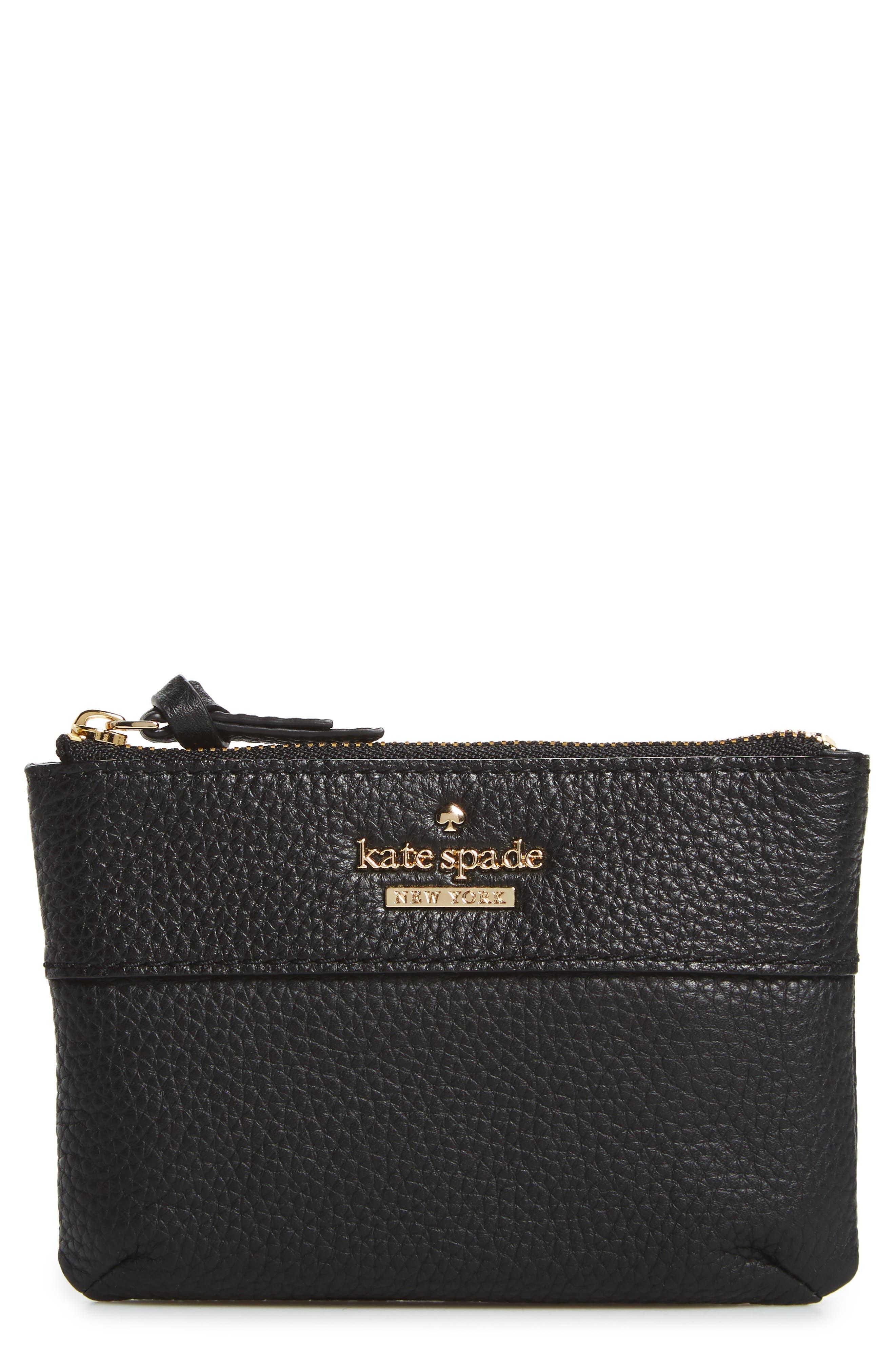jackson street mila leather zip pouch,                         Main,                         color, Black