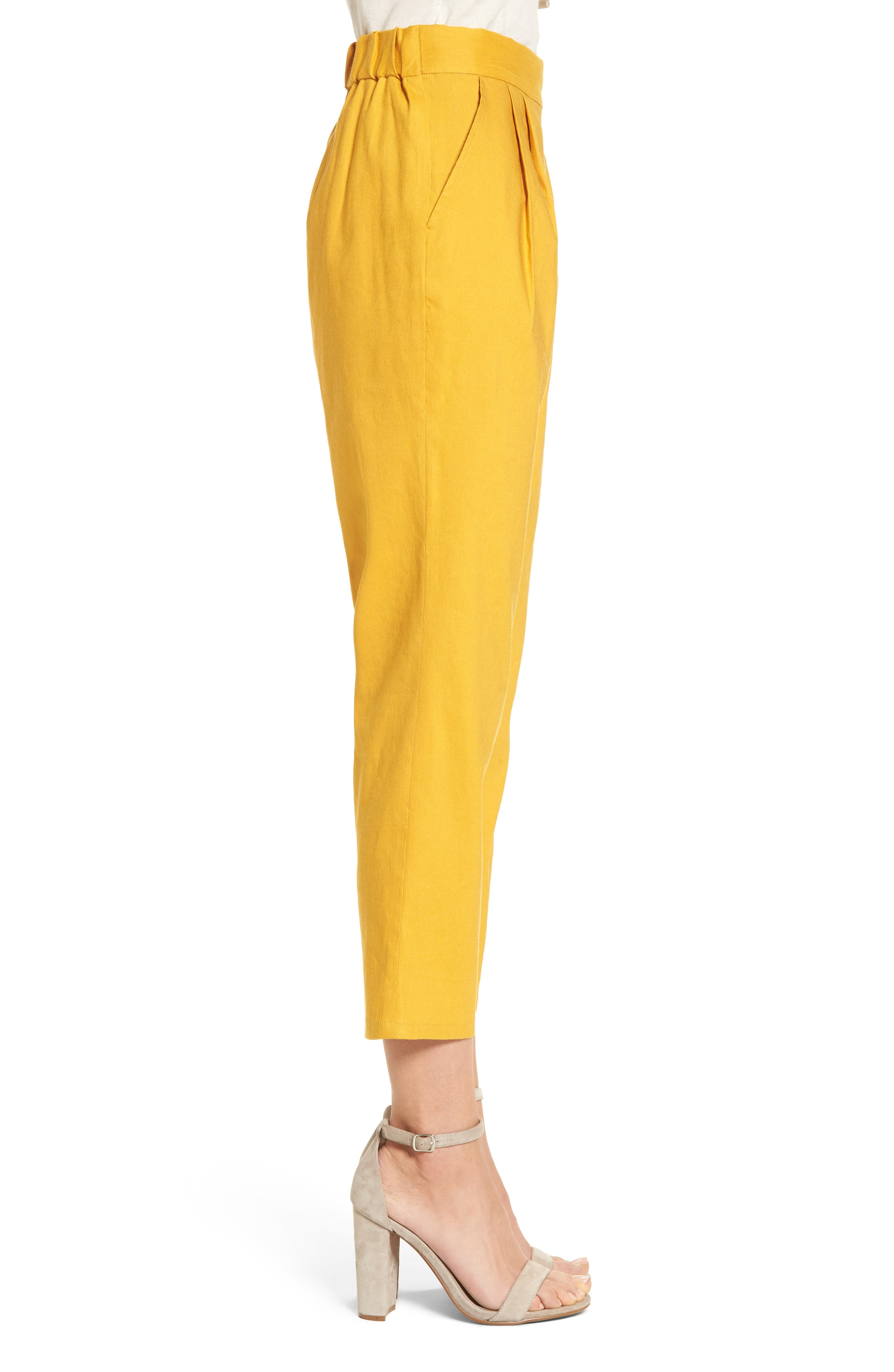 Pleat Front Crop Pants,                             Alternate thumbnail 3, color,                             Yellow Mineral