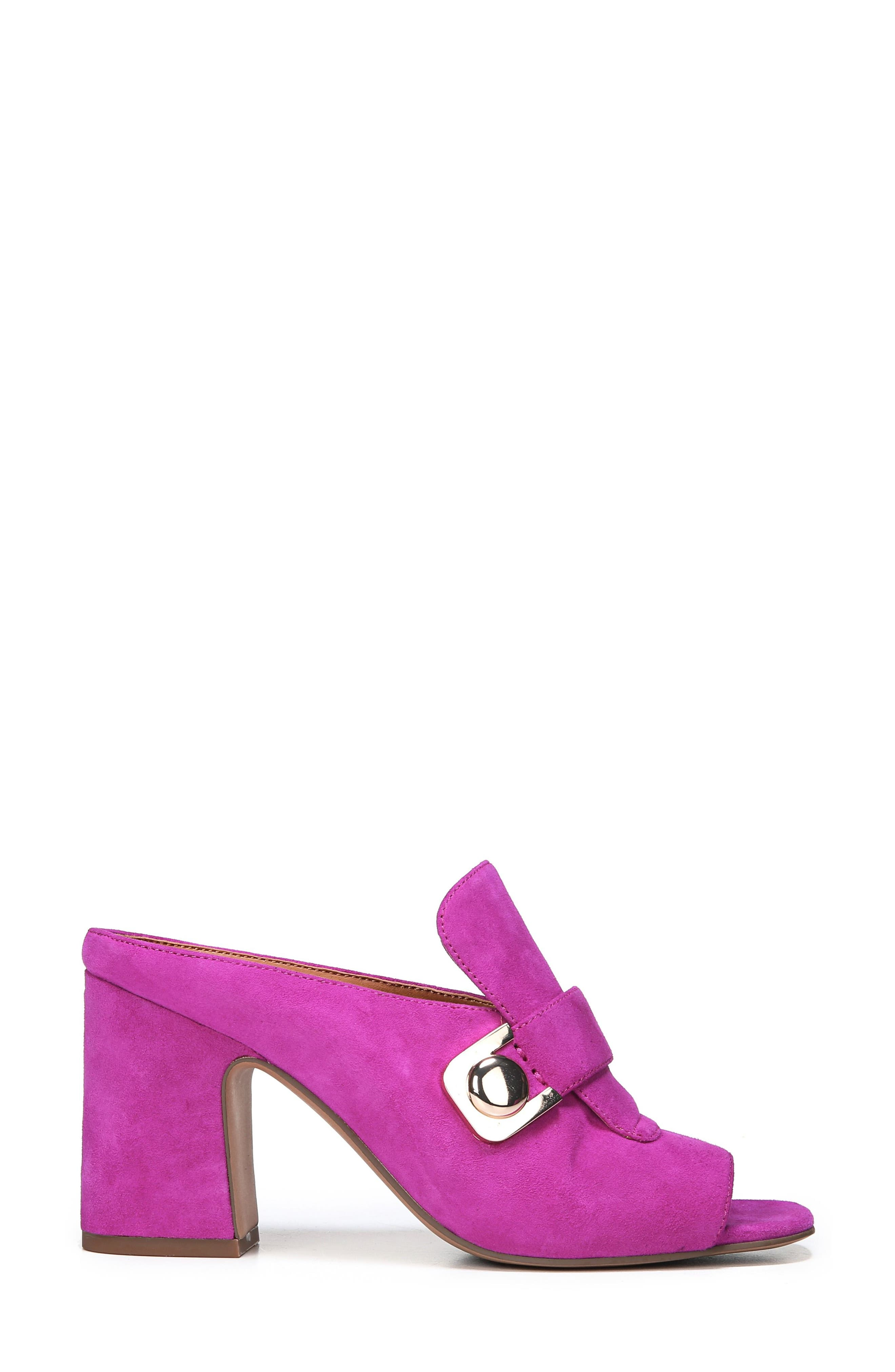 Rosalie Block Heel Sandal,                             Alternate thumbnail 3, color,                             Wild Violet Suede