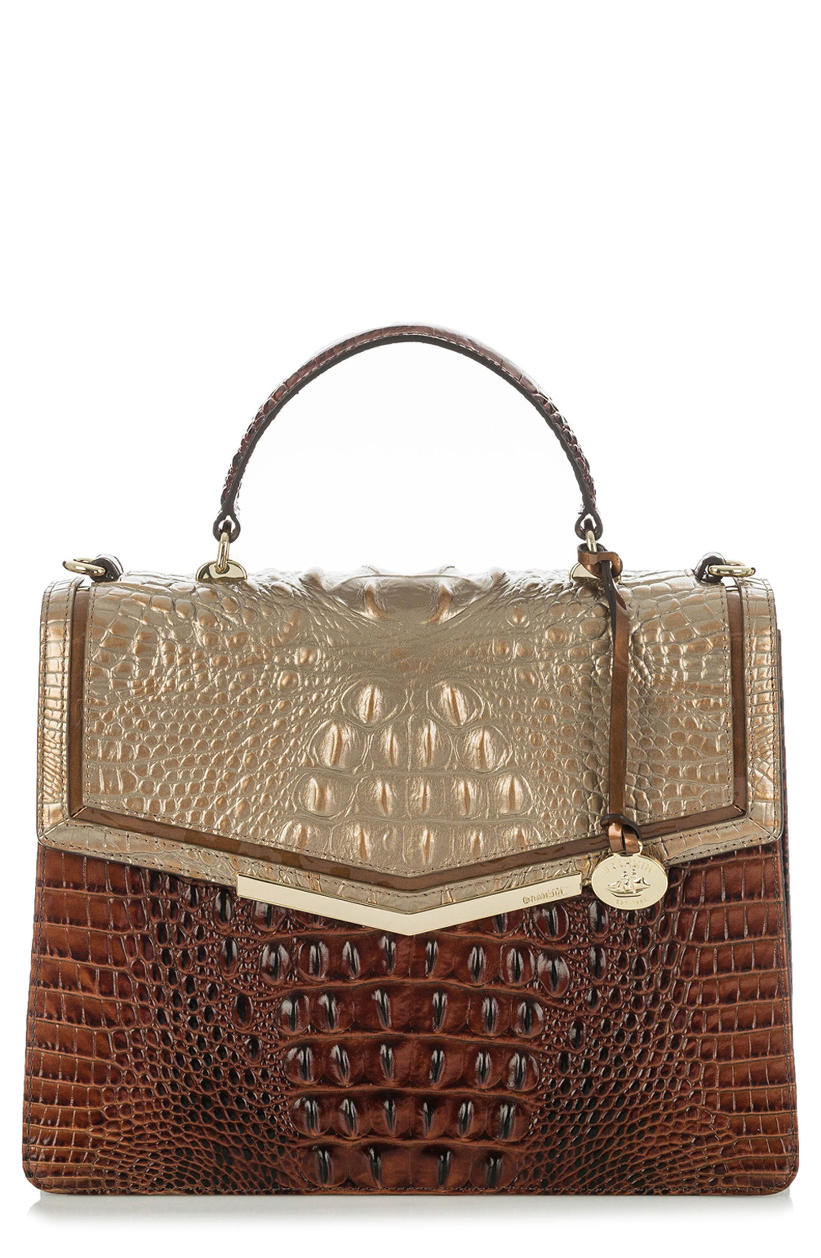 Gabriella Croc-Embossed Leather Satchel,                         Main,                         color, Rose Gold