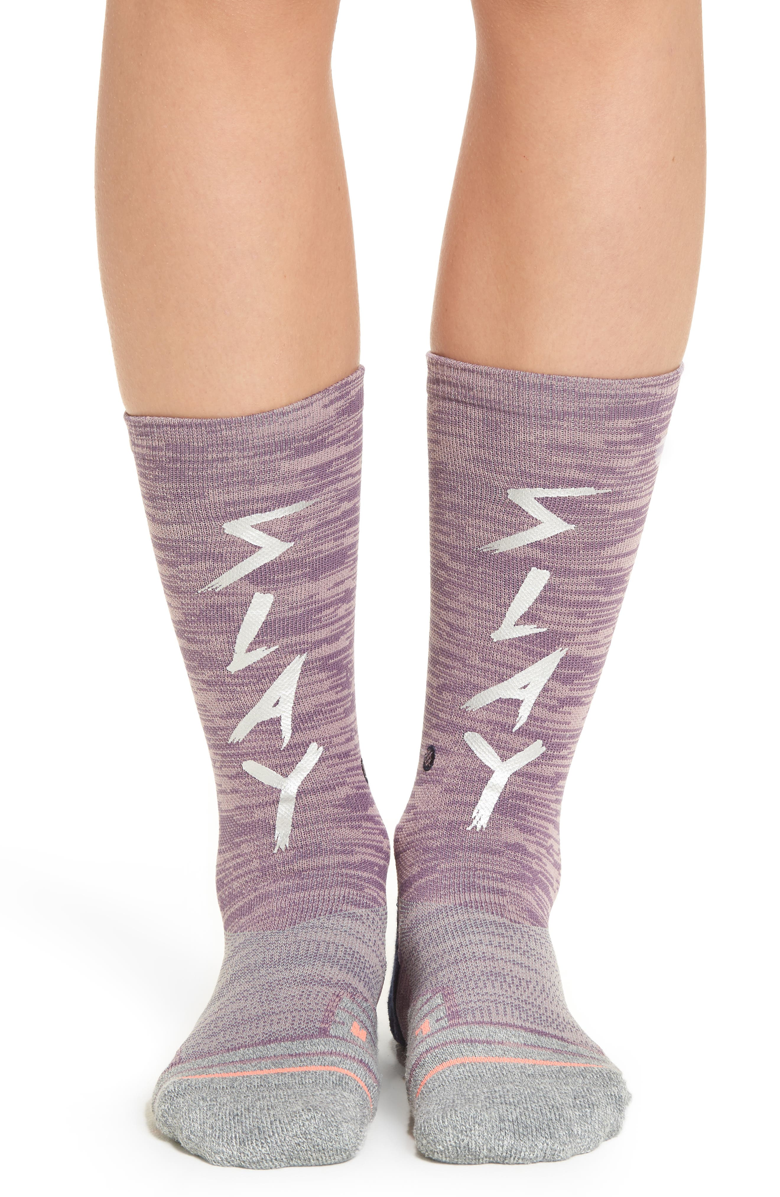 Slay Girl Athletic Crew Socks,                             Main thumbnail 1, color,                             Purple