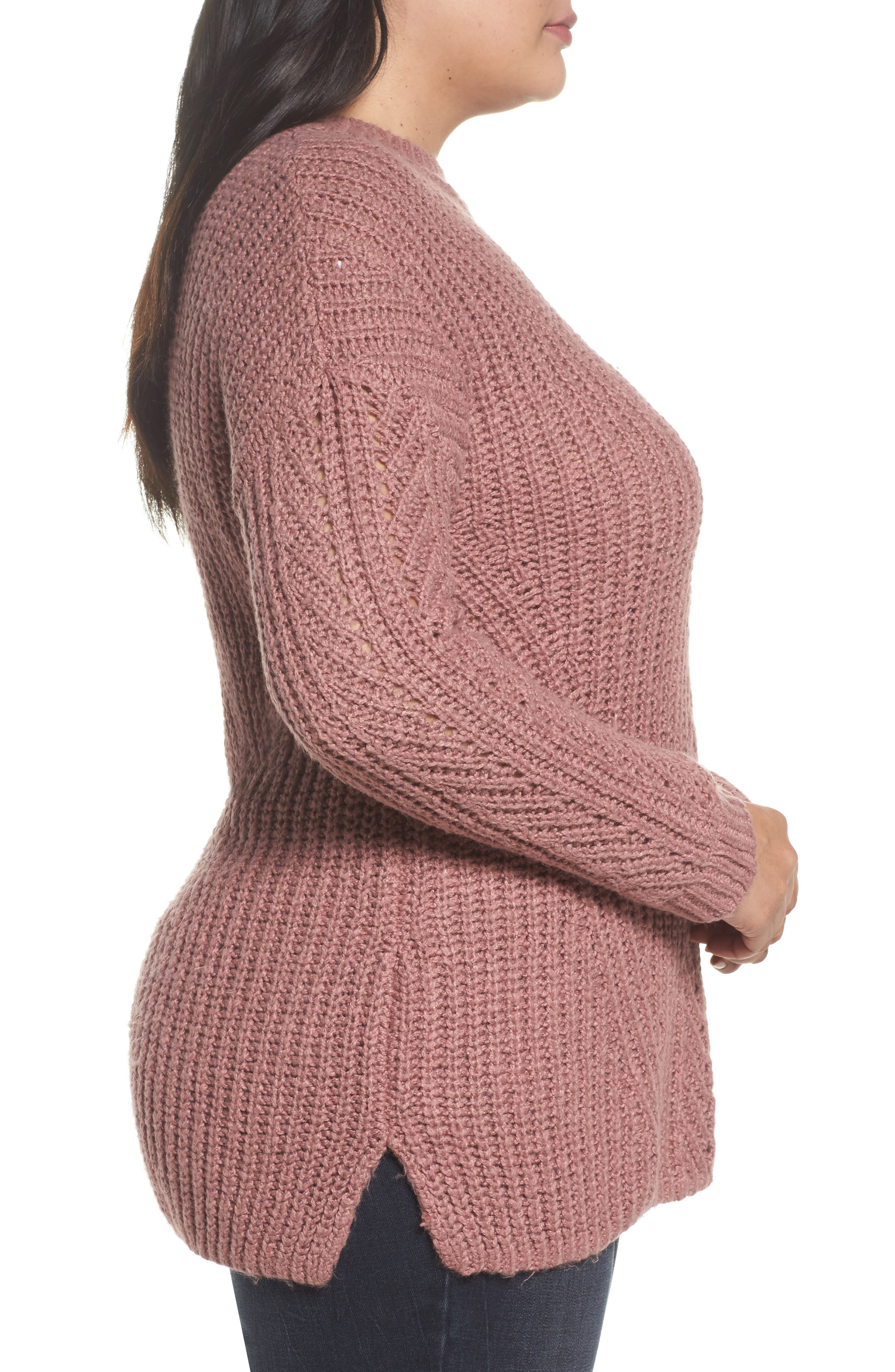 Alternate Image 3  - Lucky Brand Open Stitch Sweater (Plus Size)