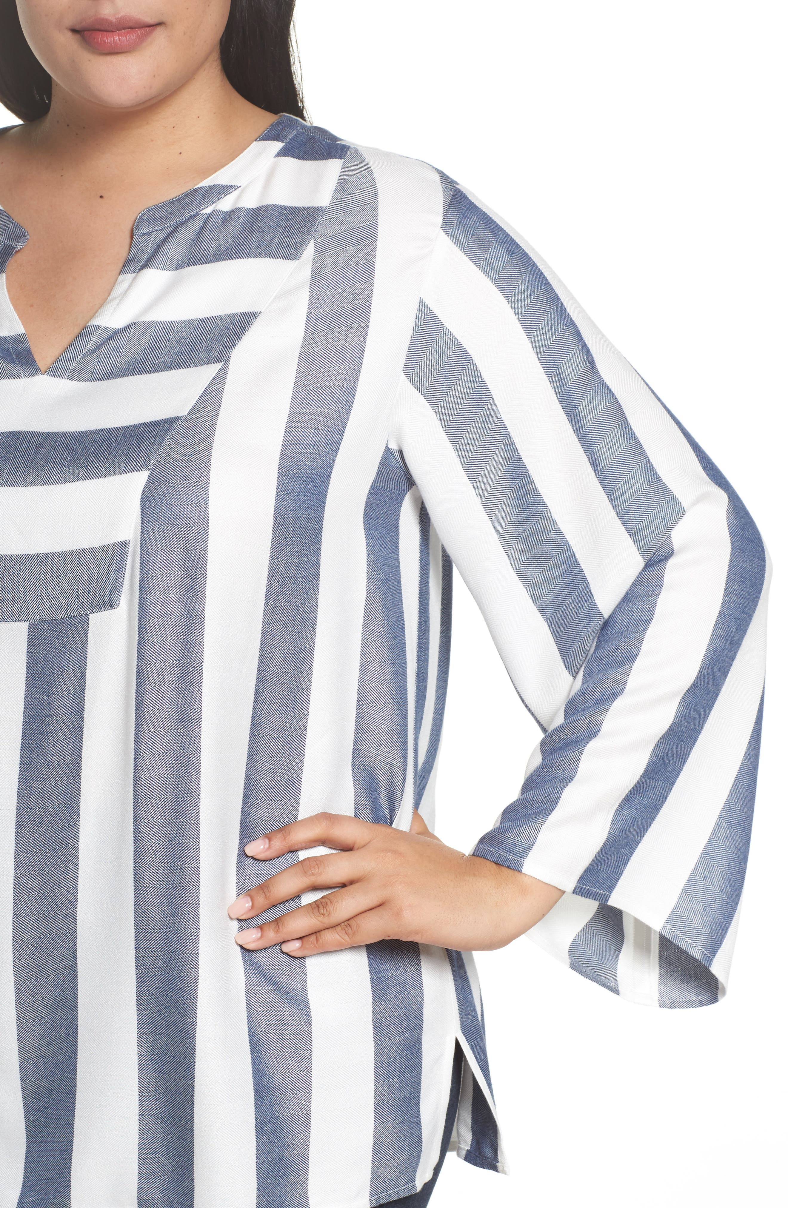 Alternate Image 4  - Two by Vince Camuto Bell Sleeve Stripe Top (Plus Size)