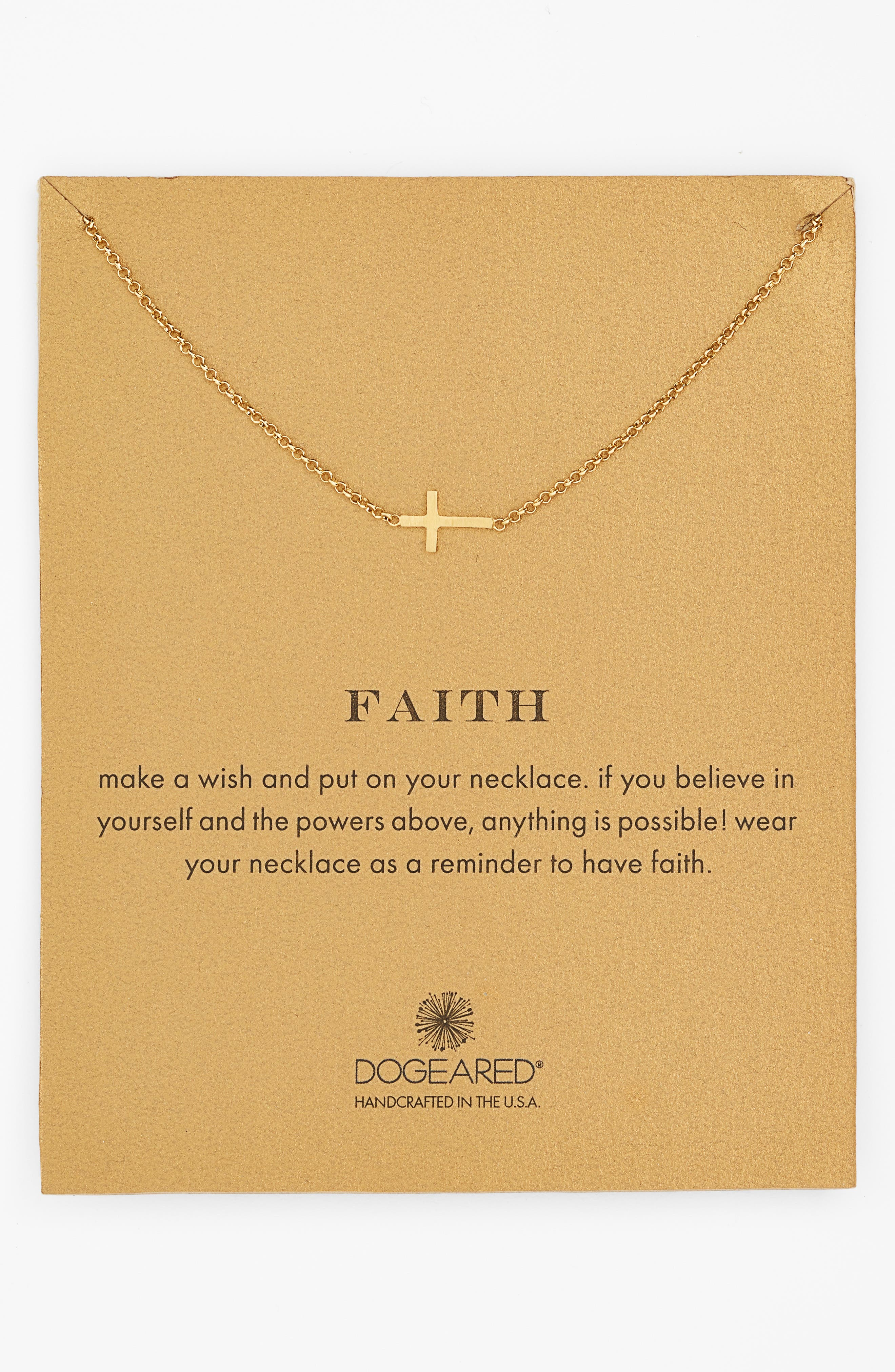 'Reminder - Faith' Sideways Cross Pendant Necklace,                         Main,                         color, Gold Dipped