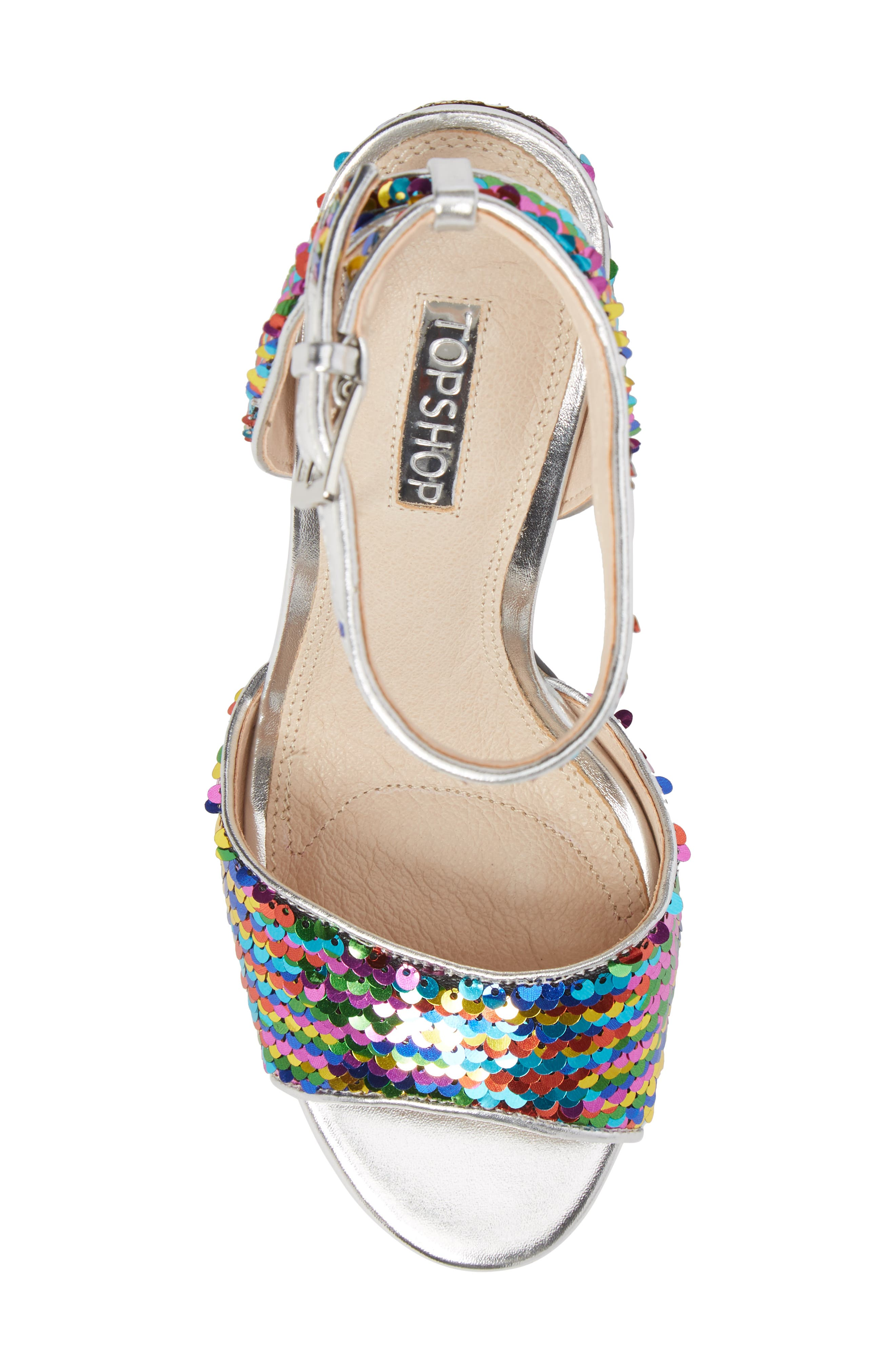 Reaction Sequin Block Heel Sandal,                             Alternate thumbnail 5, color,                             Silver Multi