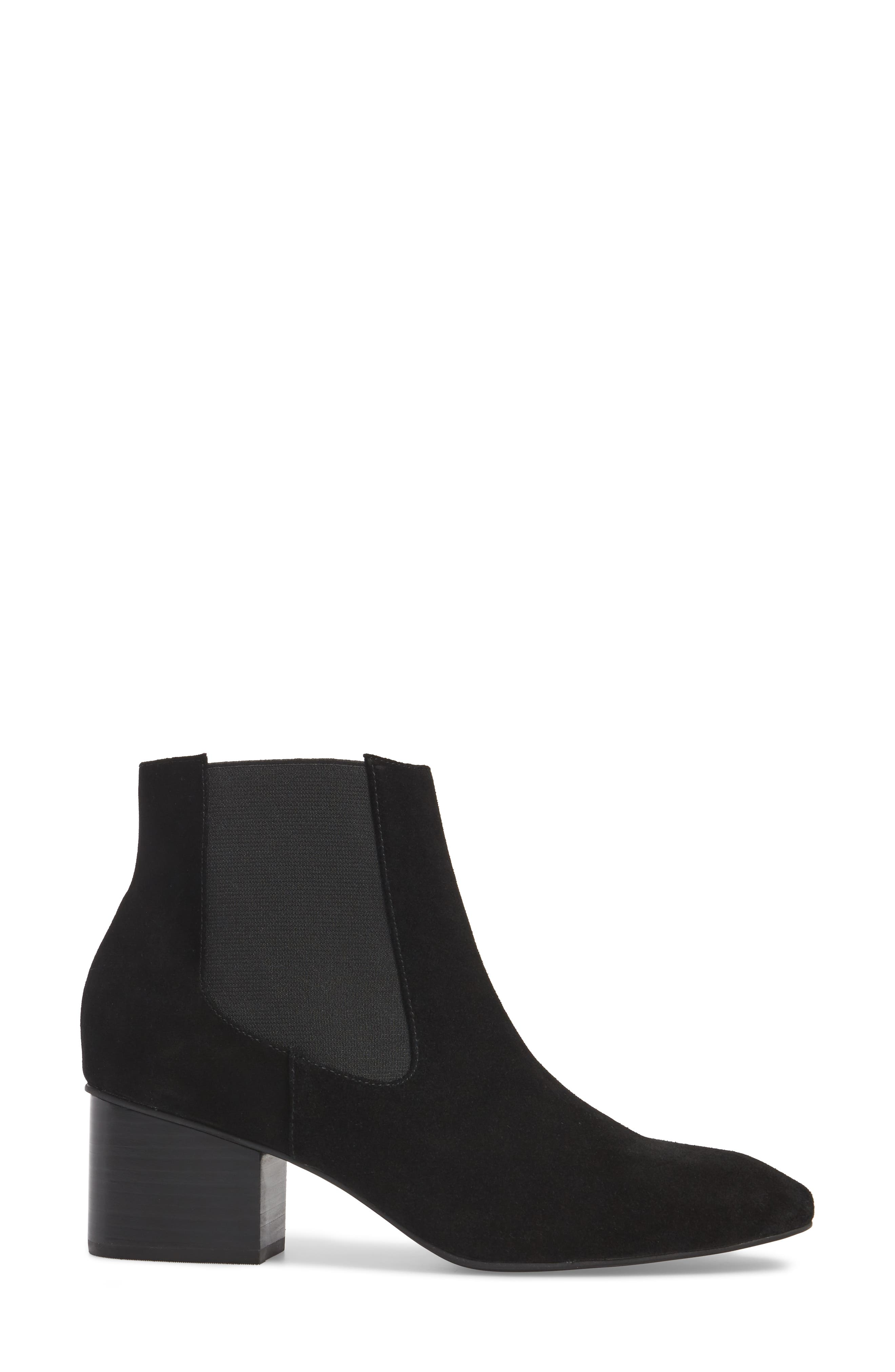 Tucker Chelsea Bootie,                             Alternate thumbnail 3, color,                             Black Leather