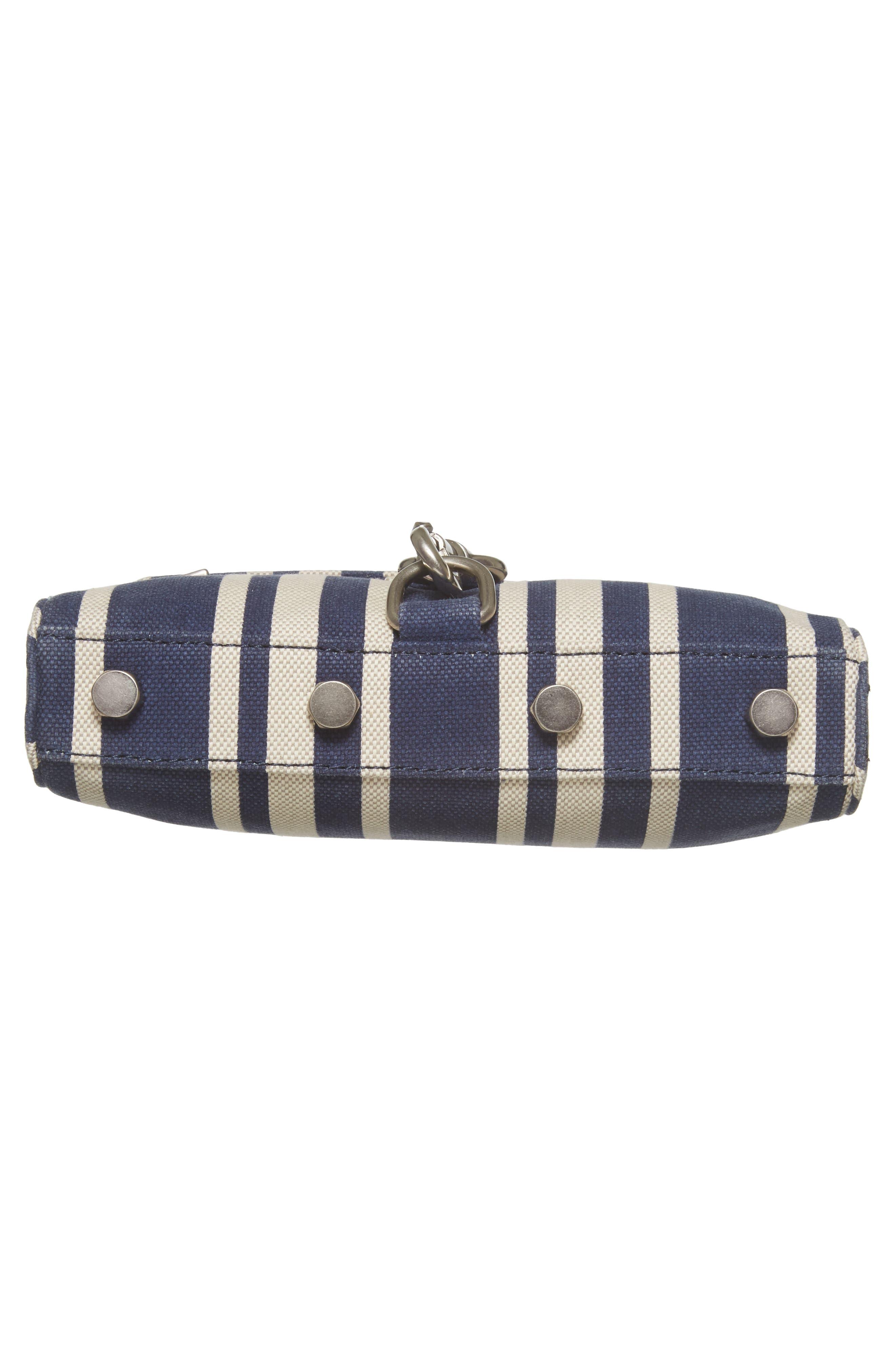 Mini MAC Stripe Canvas Convertible Crossbody Bag,                             Alternate thumbnail 6, color,                             Navy Stripe