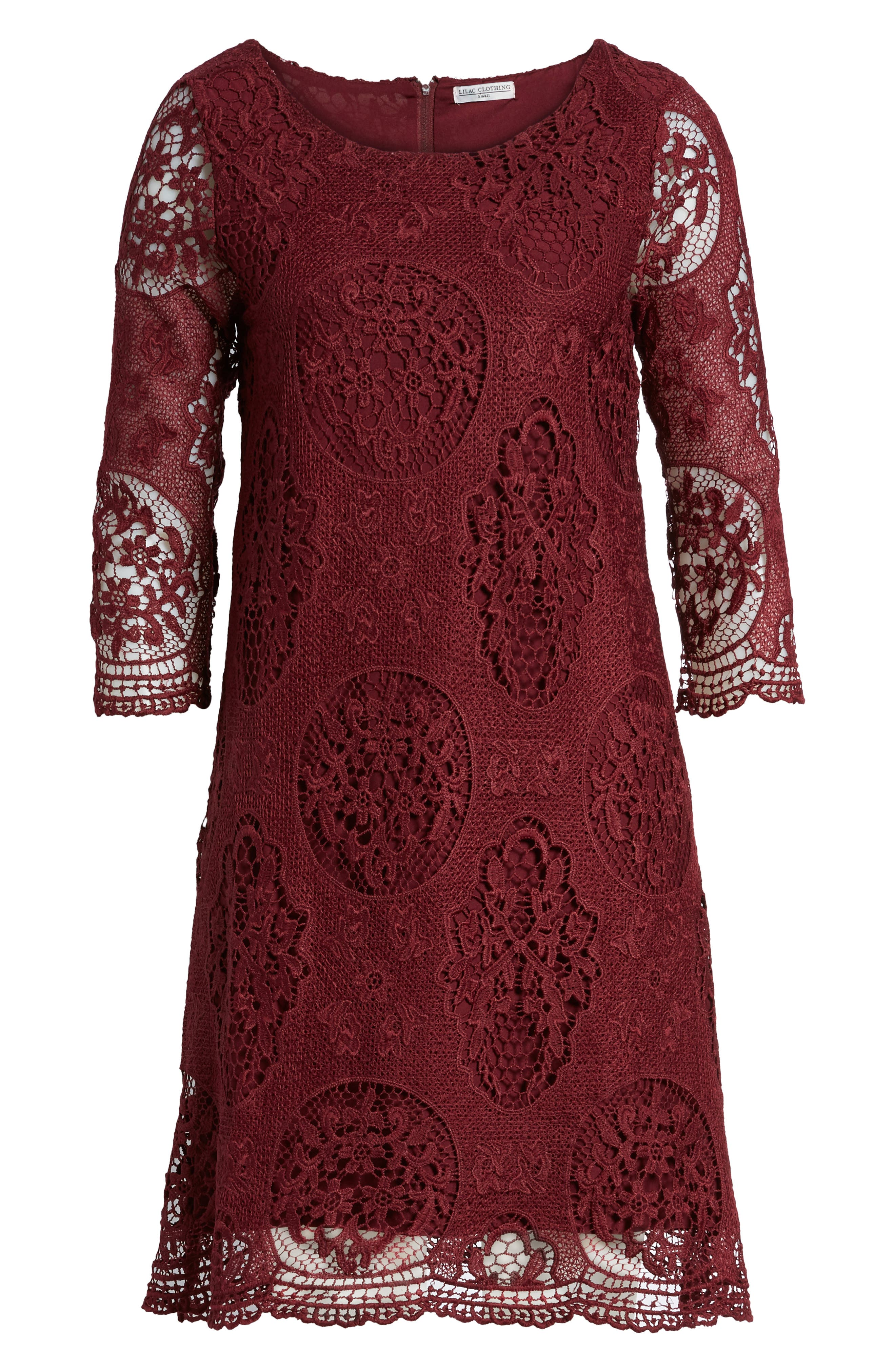 Lace Maternity Dress,                             Main thumbnail 1, color,                             Burgundy