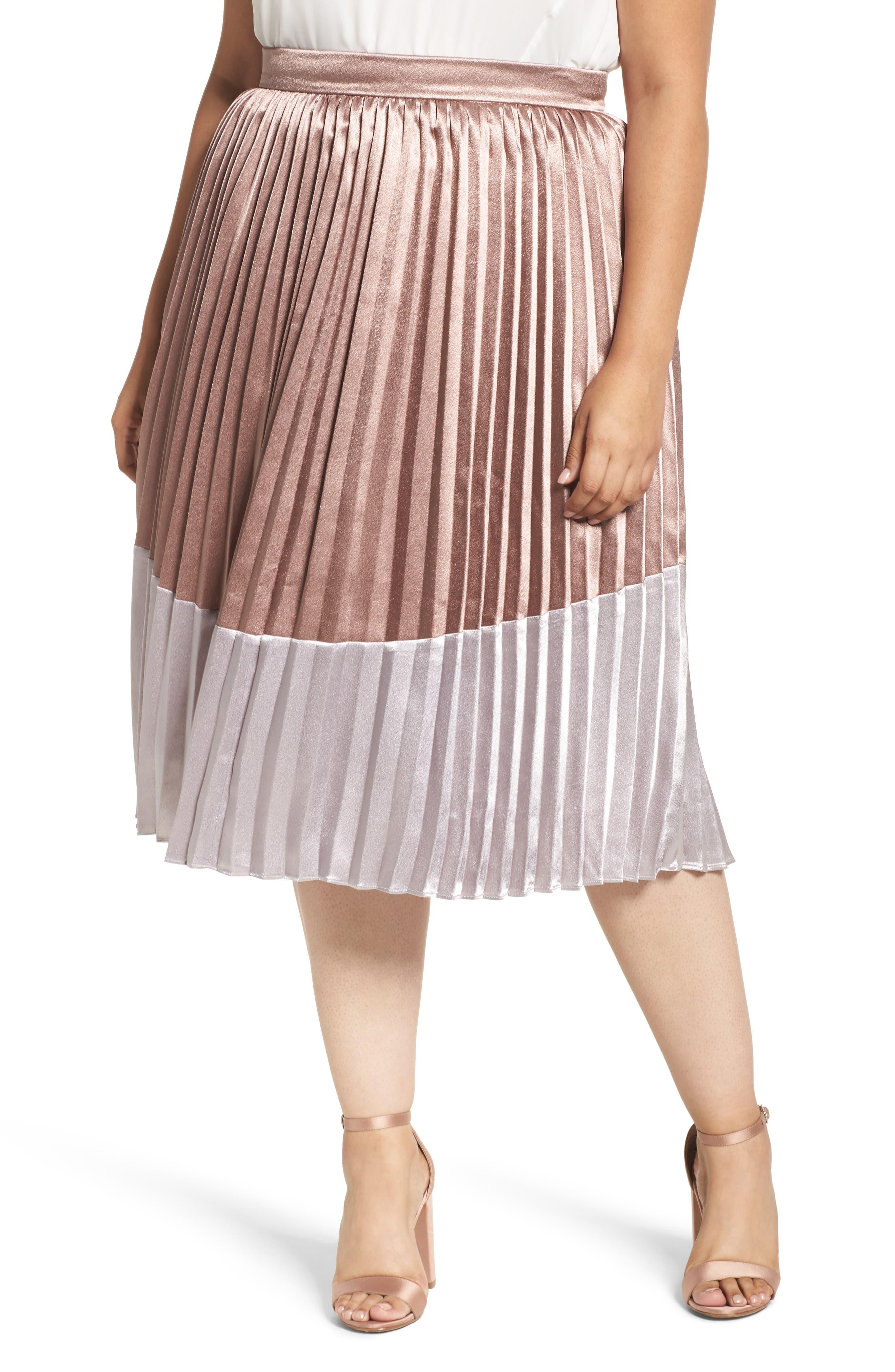 Main Image - LOST INK Pleat Metallic Skirt (Plus Size)