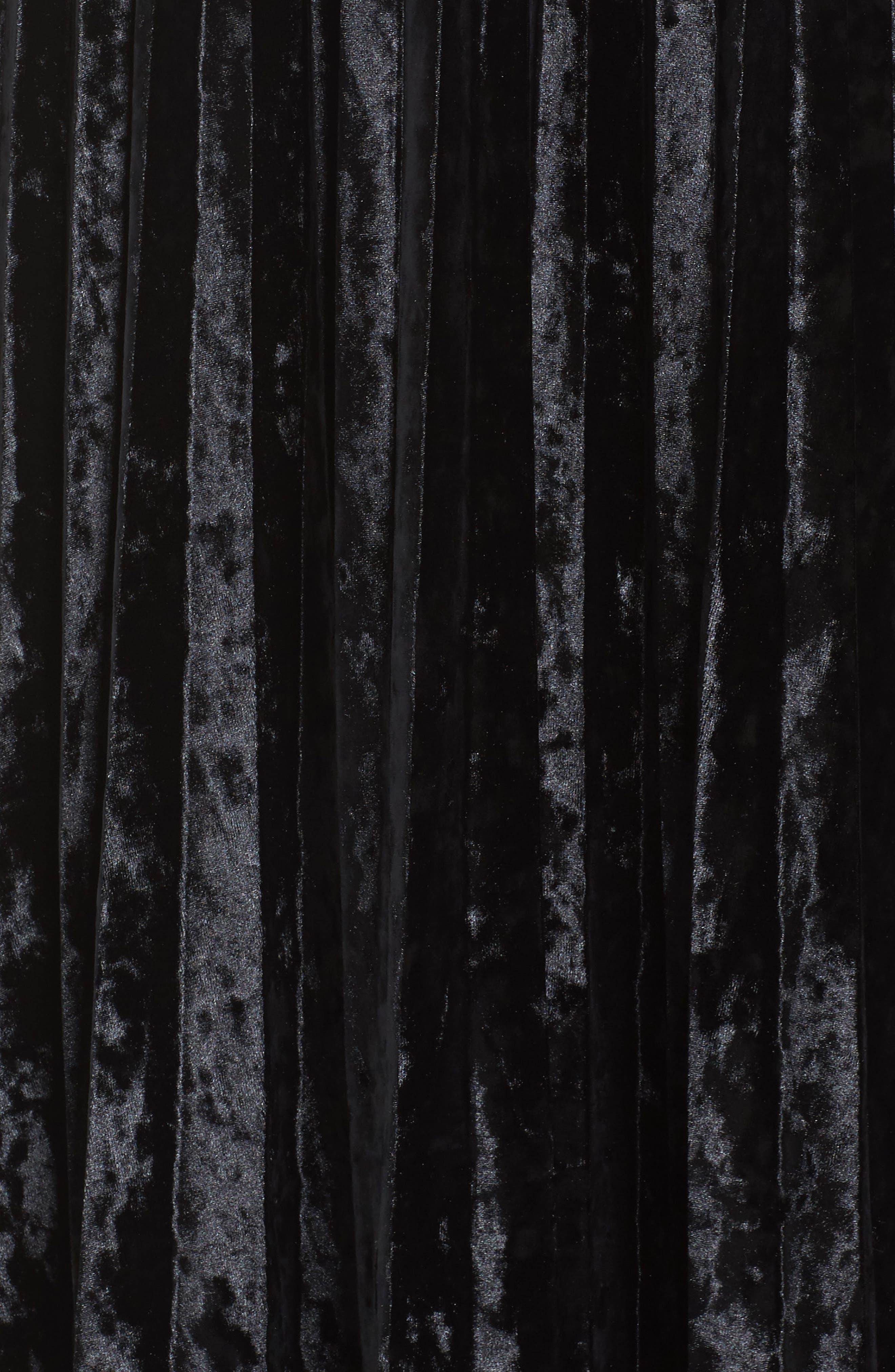 Velvet Pleat Skirt,                             Alternate thumbnail 6, color,                             Black Velvet