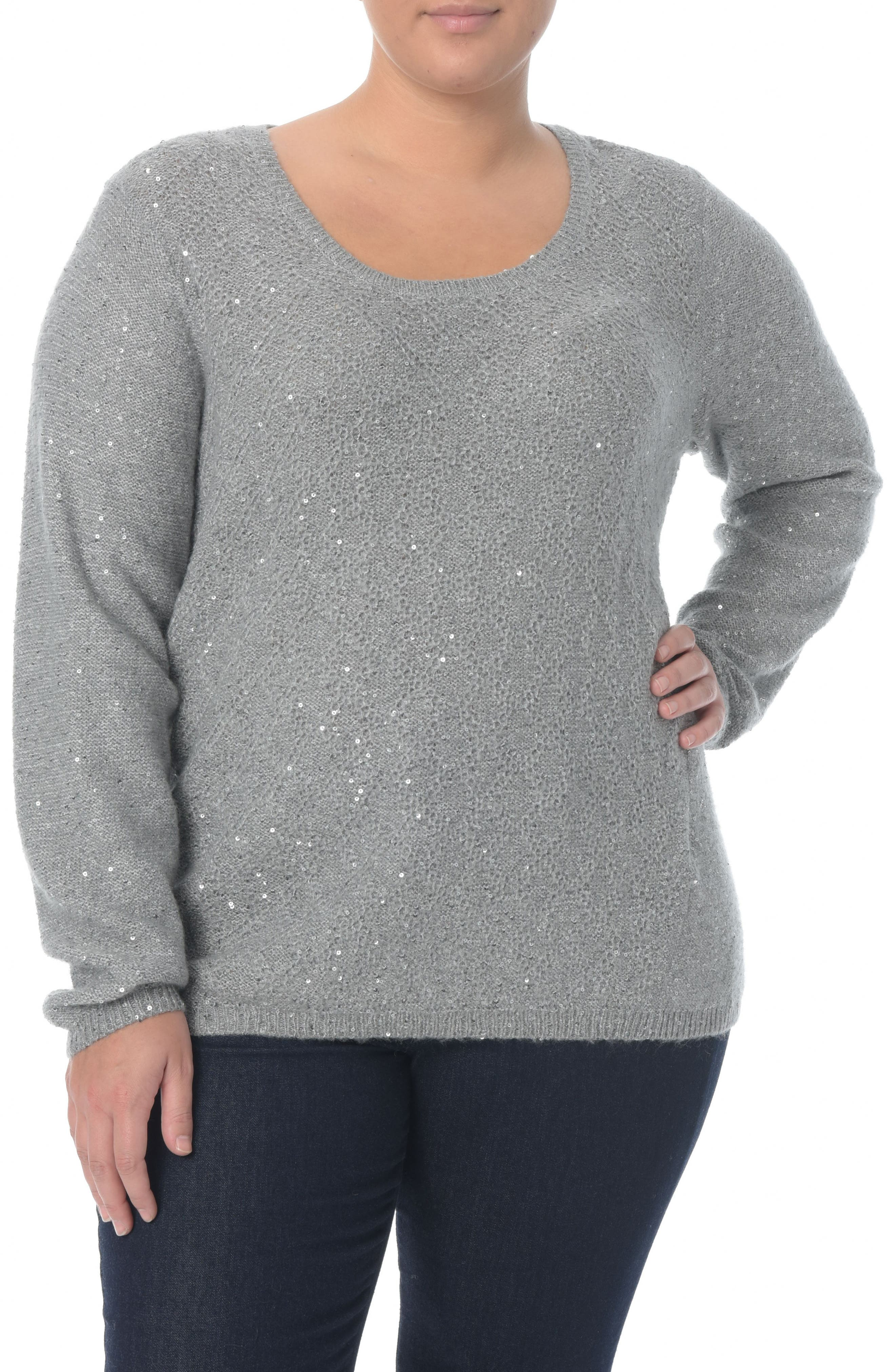 NYDJ Sequin Scoop Neck Sweater (Plus Size)
