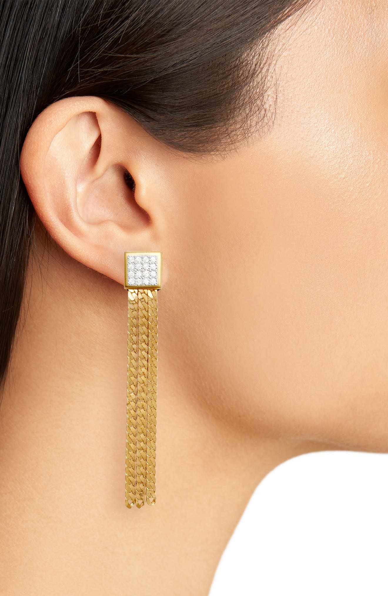 Chain Earrings,                             Alternate thumbnail 2, color,                             Gold/ Crystal