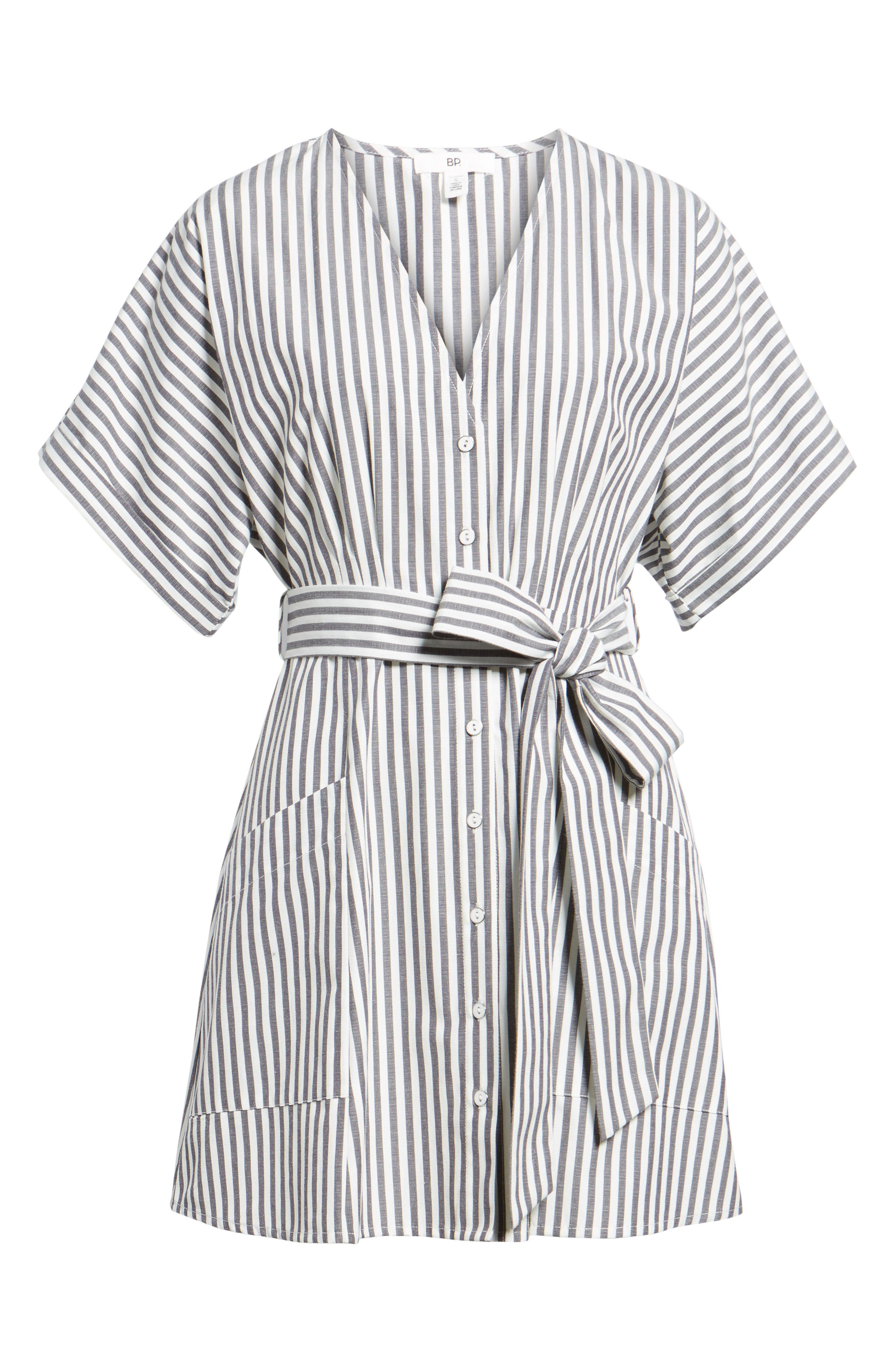 Button Front Dress,                             Alternate thumbnail 6, color,                             Black Jerry Stripe