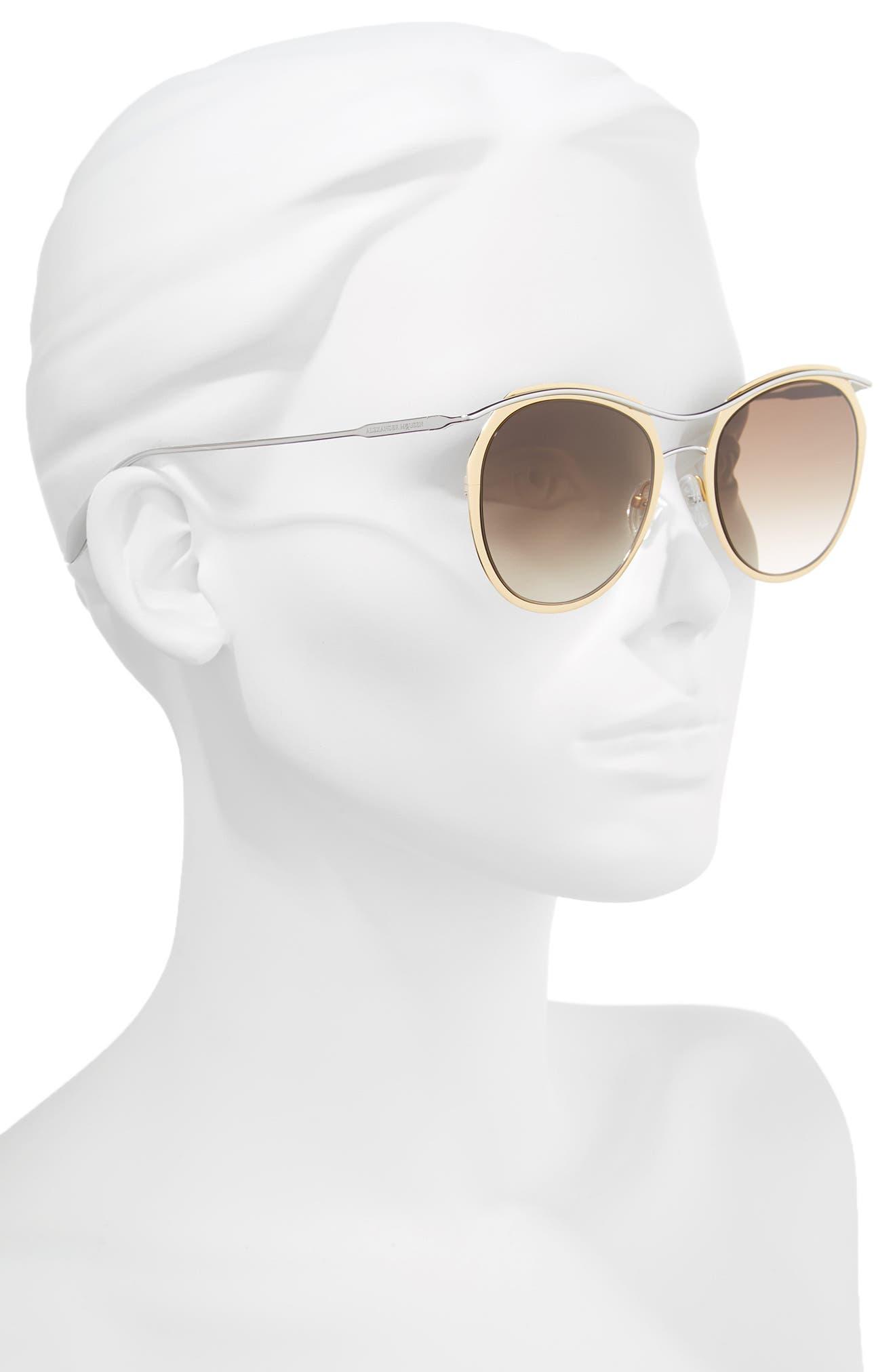 Alternate Image 2  - Alexander McQueen 54mm Gradient Round Sunglasses