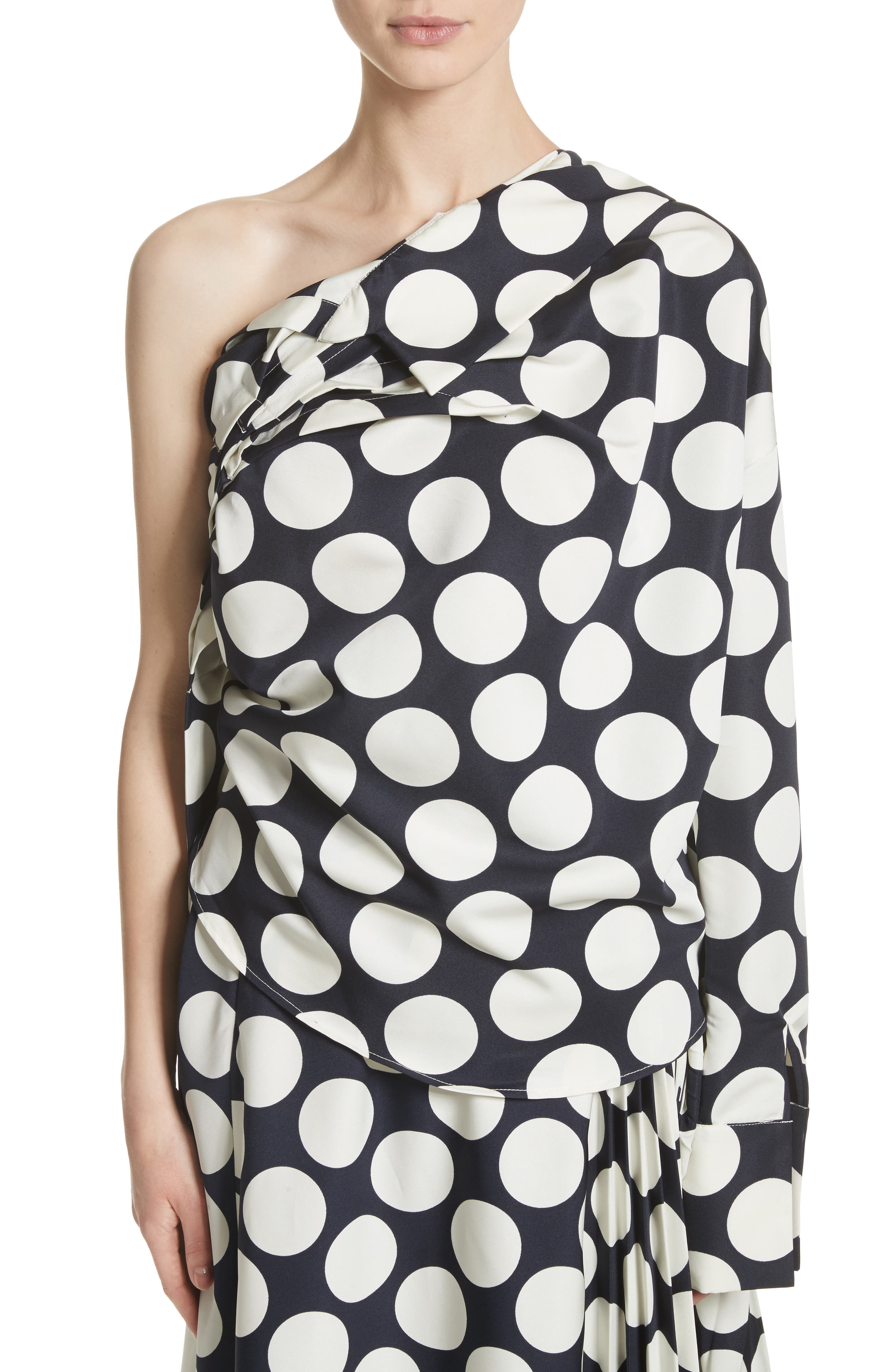 Giant Polka Dot Twisted One-Shoulder Top,                         Main,                         color, Navy/ Off-White