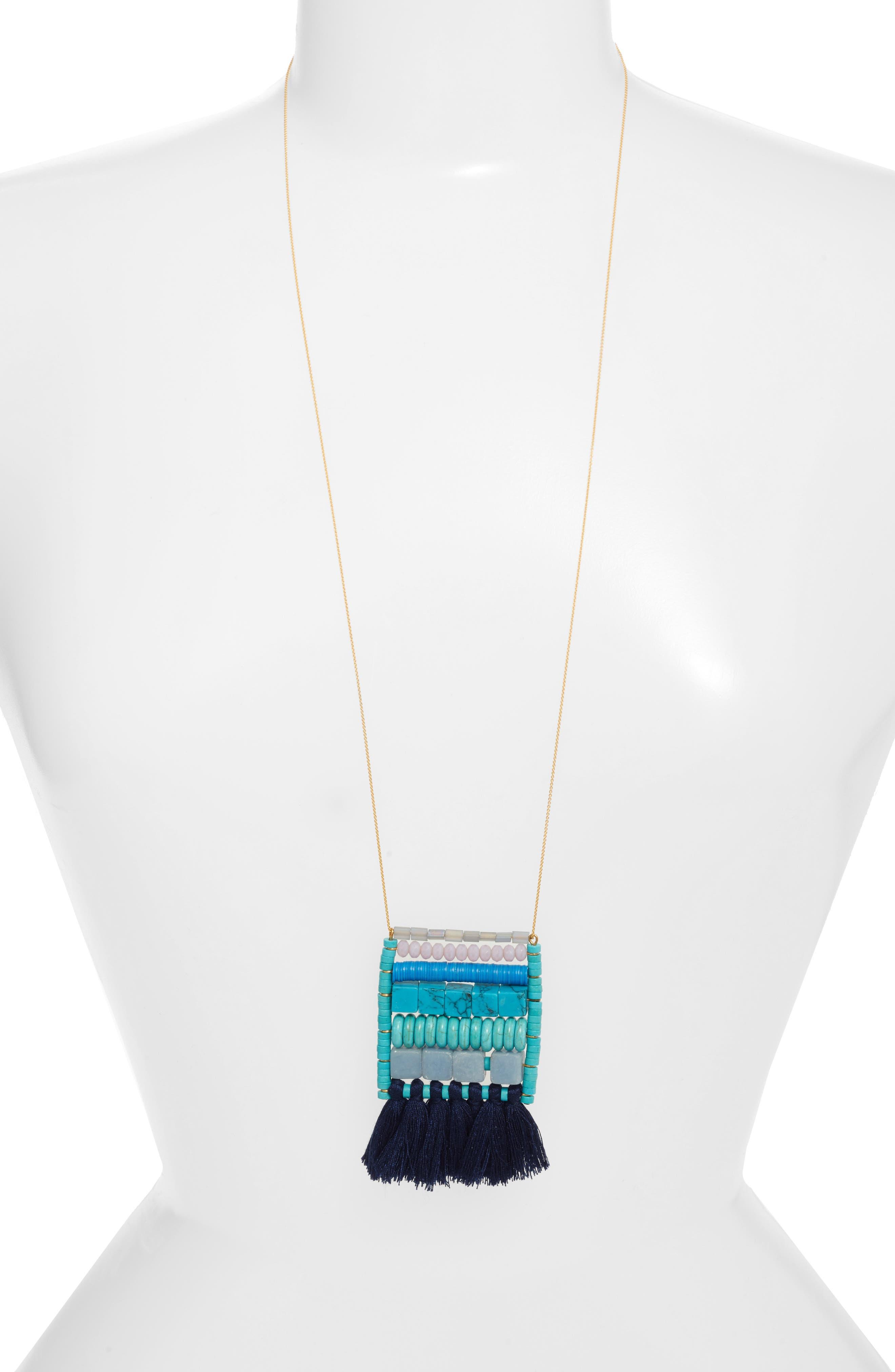 Rylee Tassel Pendant Necklace,                             Main thumbnail 1, color,                             Blue