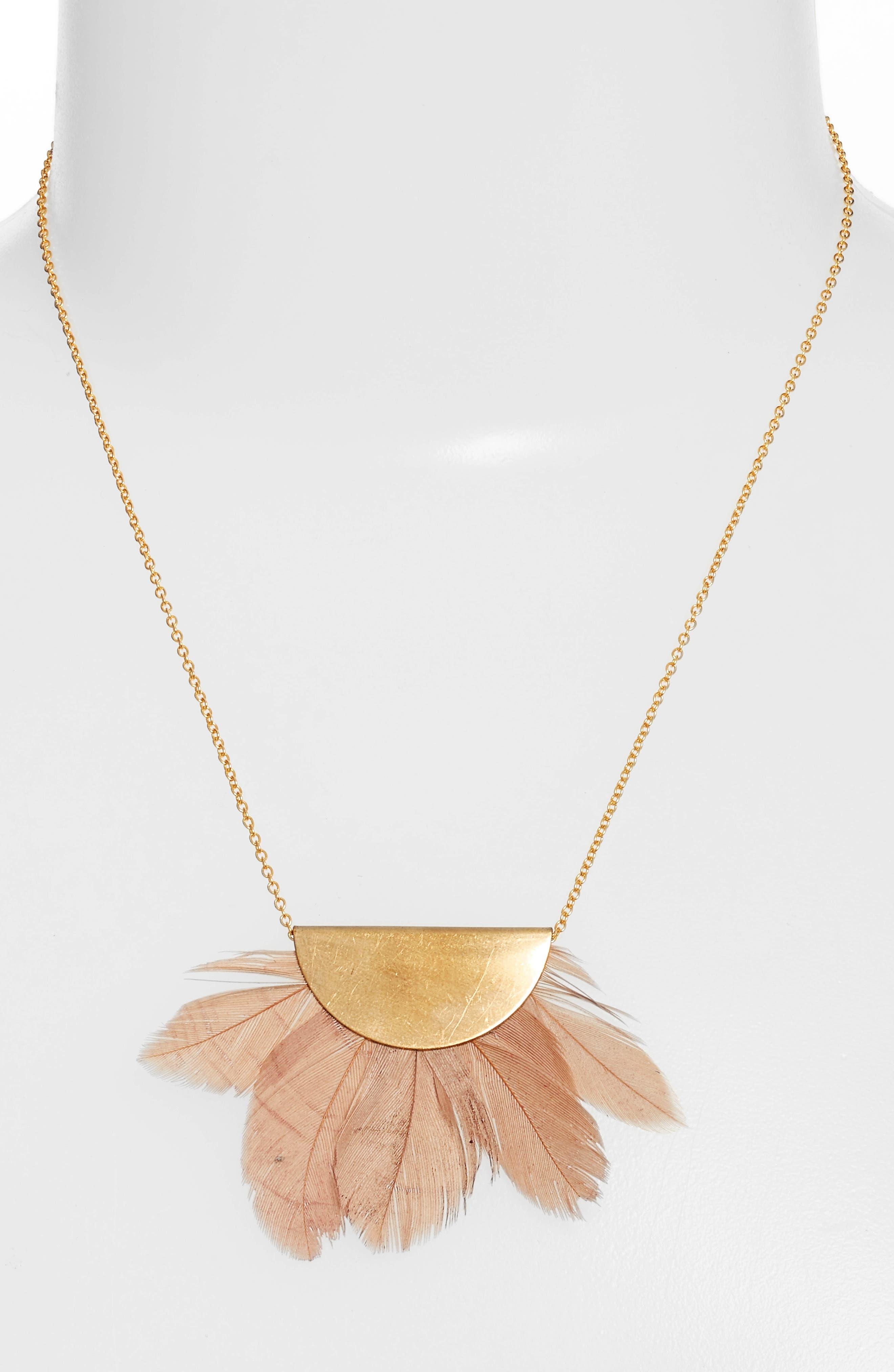 Feather Fan Pendant Necklace,                             Alternate thumbnail 2, color,                             Gold/ Blush