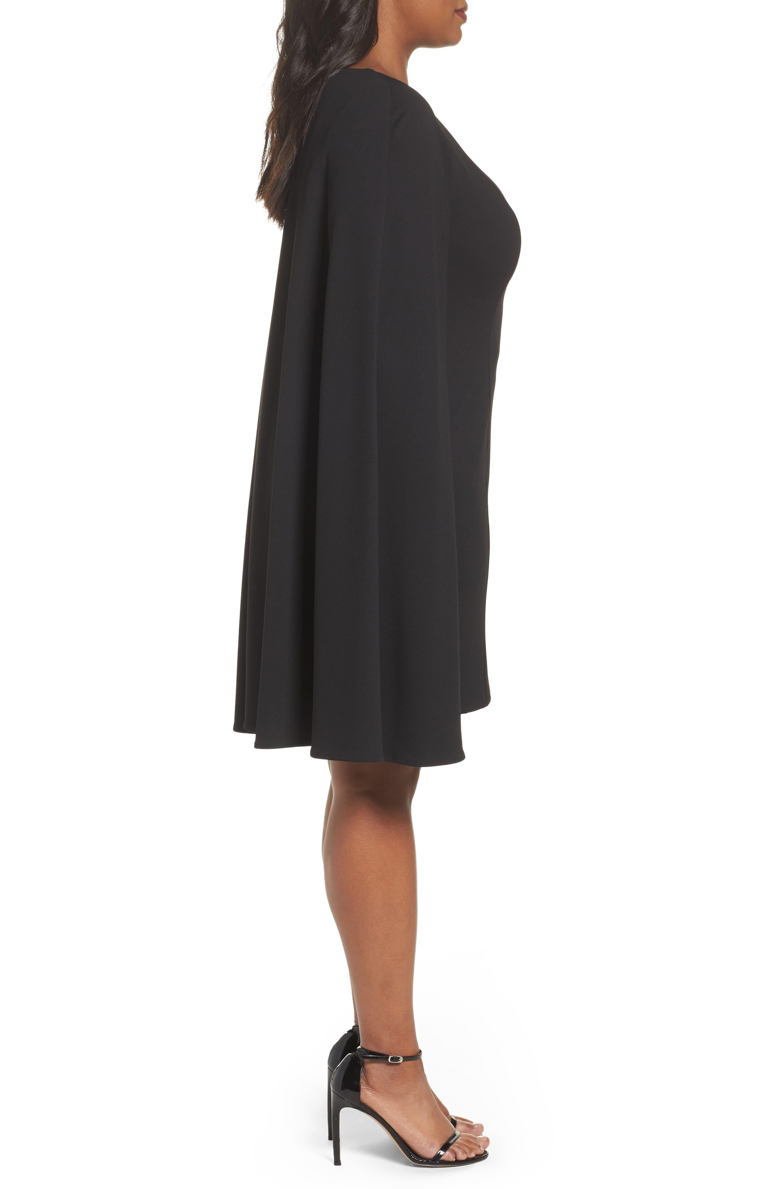 Cape Sheath Dress,                             Alternate thumbnail 3, color,                             Black
