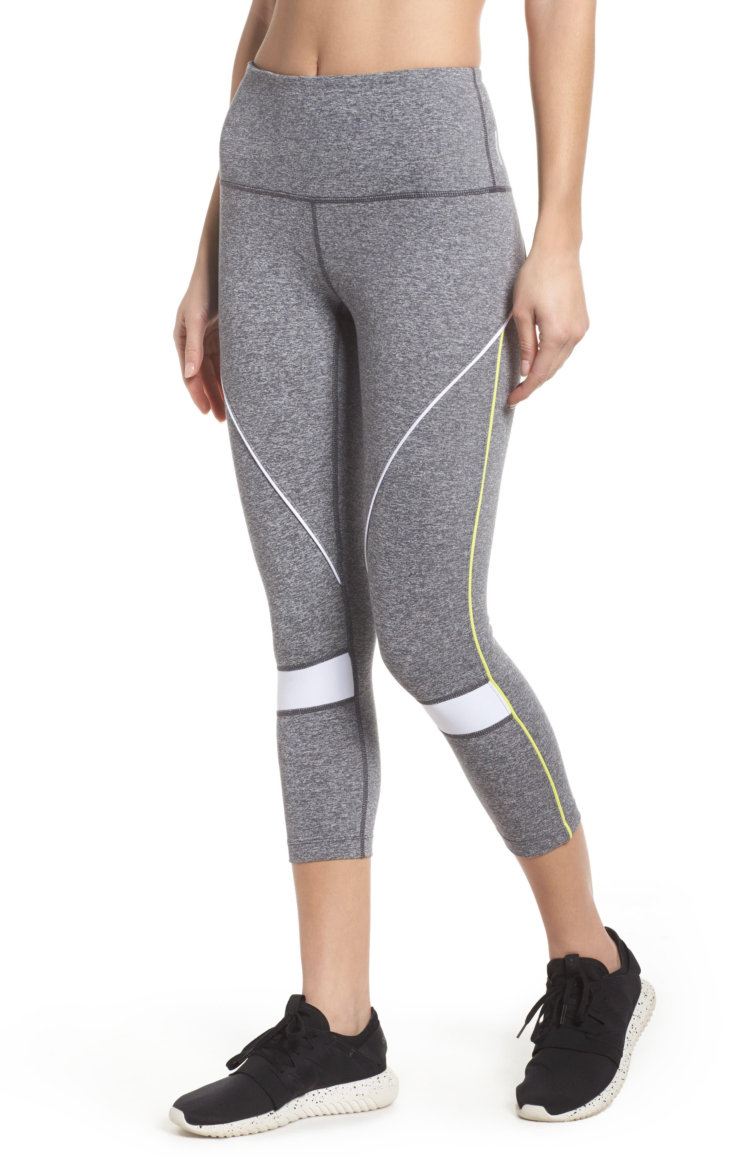 Piper High Waist Crop Leggings,                         Main,                         color, Grey Graphite Melange