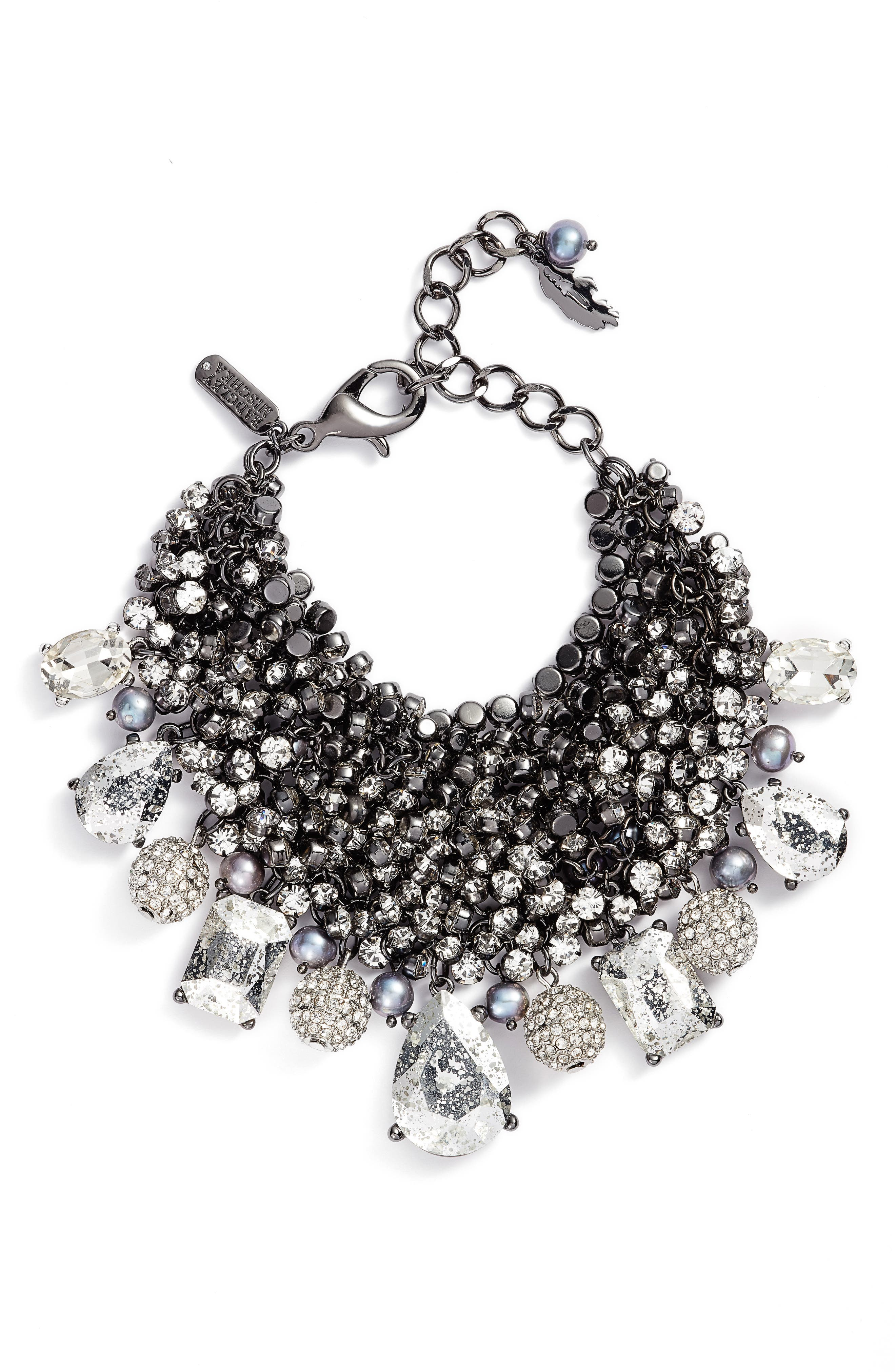 Main Image - Badgley Mischka Crystal & Pearl Cluster Bracelet