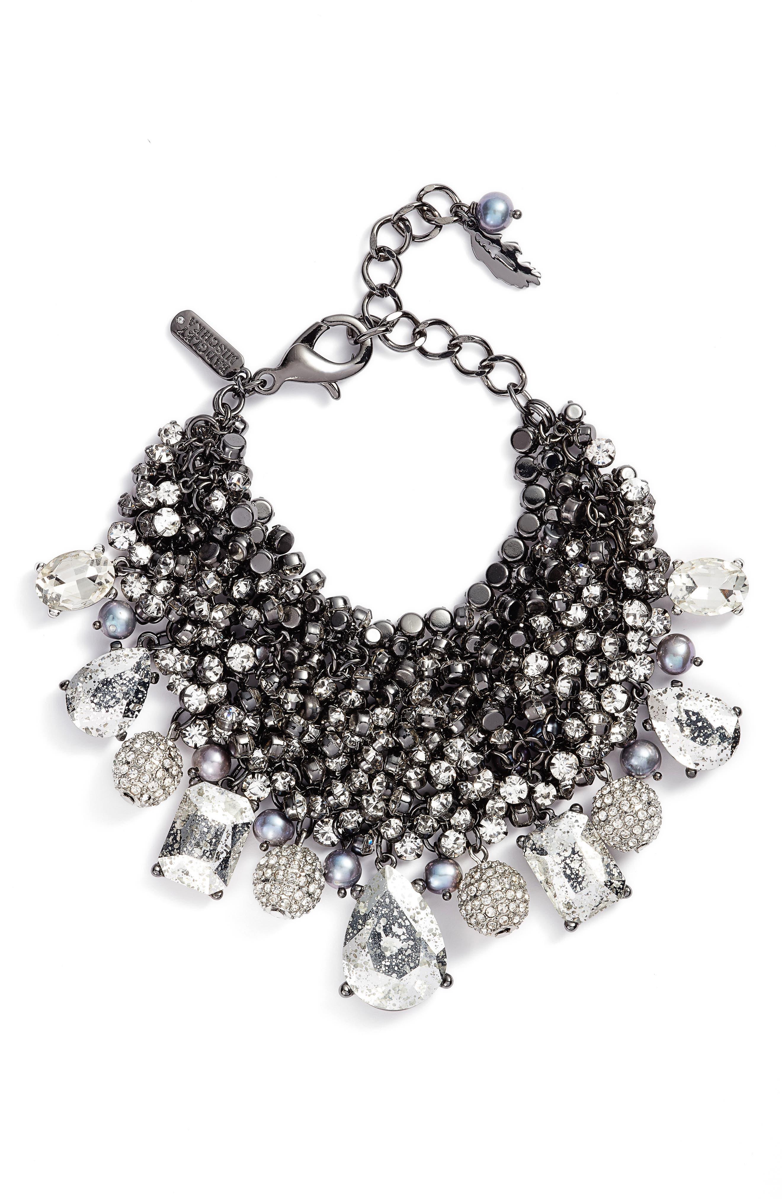 Crystal & Pearl Cluster Bracelet,                         Main,                         color, Hematite