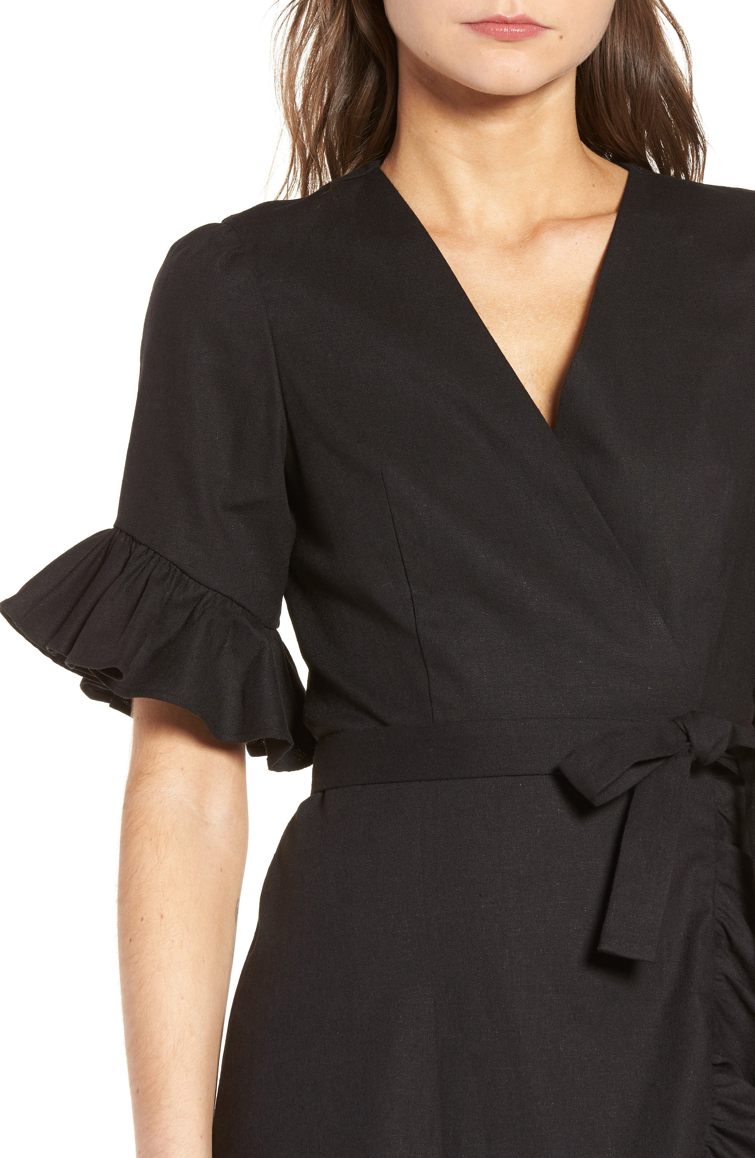 Ruffle Wrap Dress,                             Alternate thumbnail 4, color,                             Black