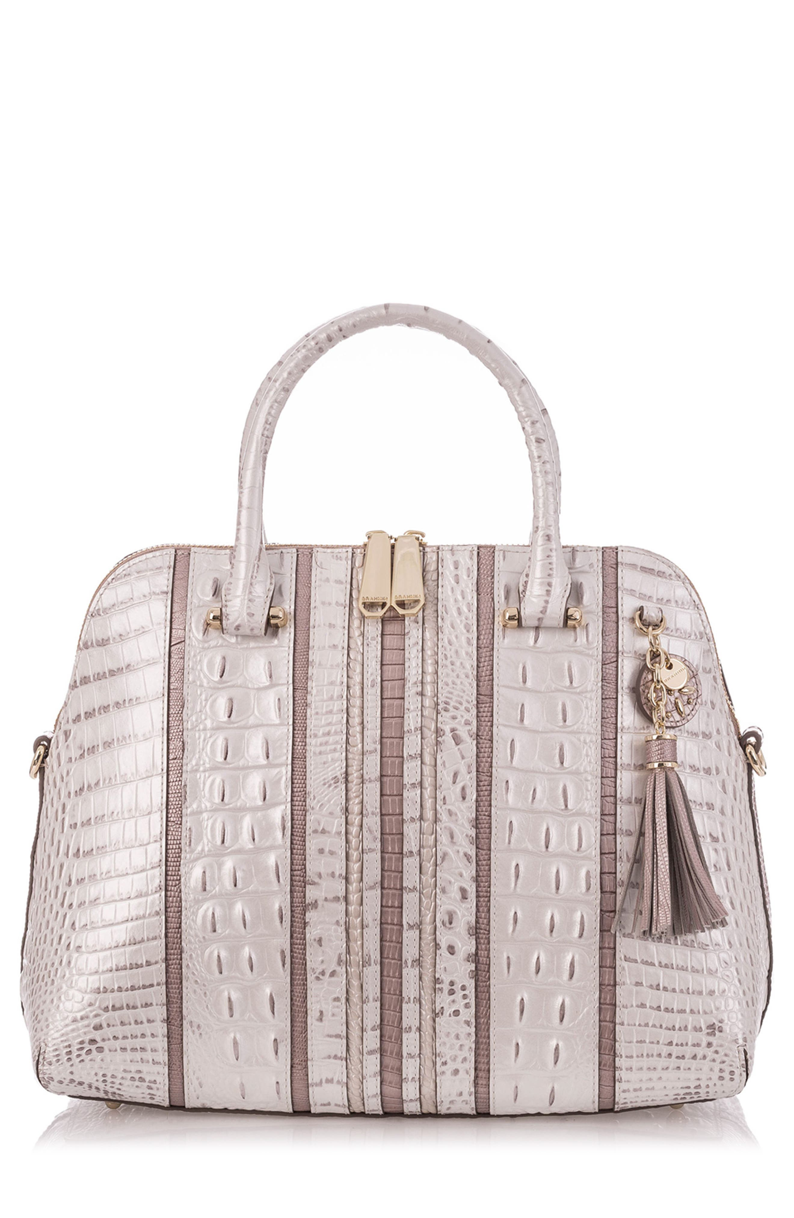 Orleans Sydney Embossed Leather Satchel,                             Main thumbnail 1, color,                             Toasted Macaroon