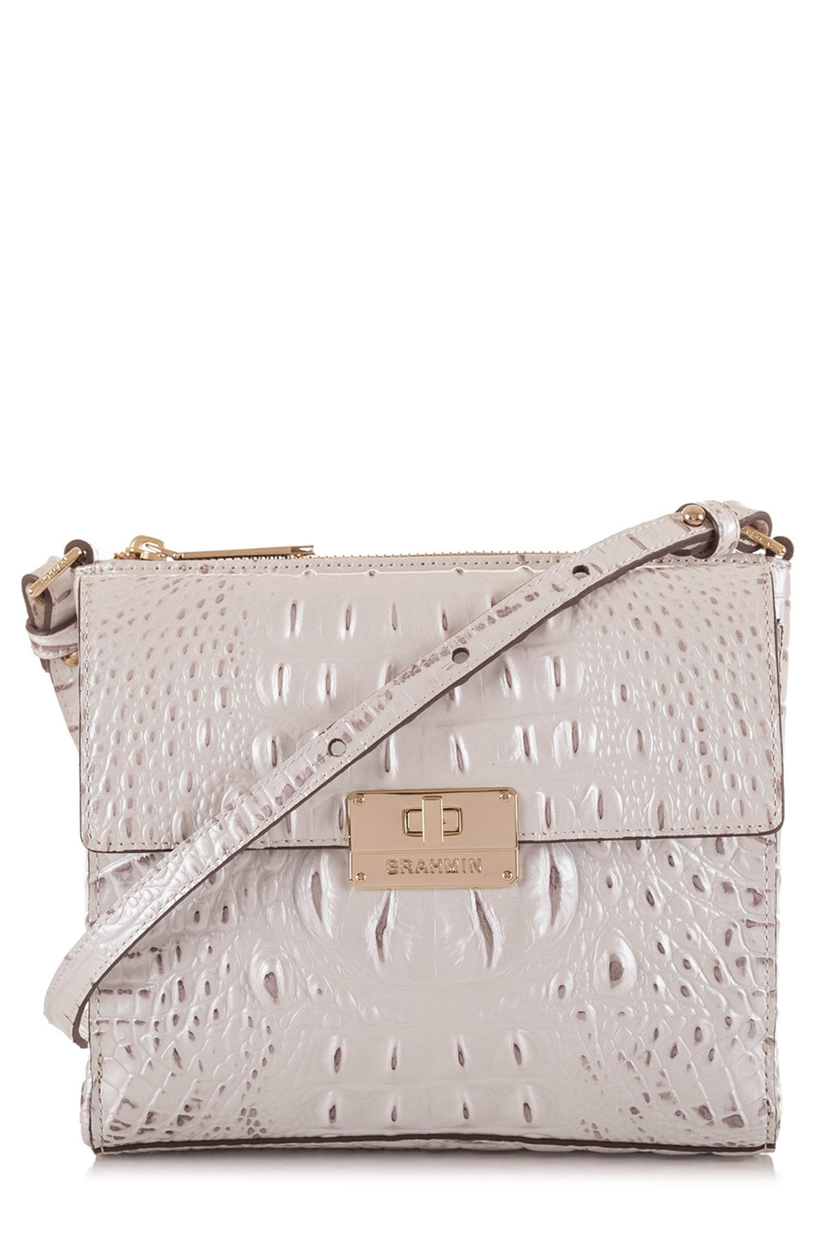 Melbourne Manhattan Croc Embossed Leather Crossbody Bag,                             Main thumbnail 1, color,                             Toasted Macaroon