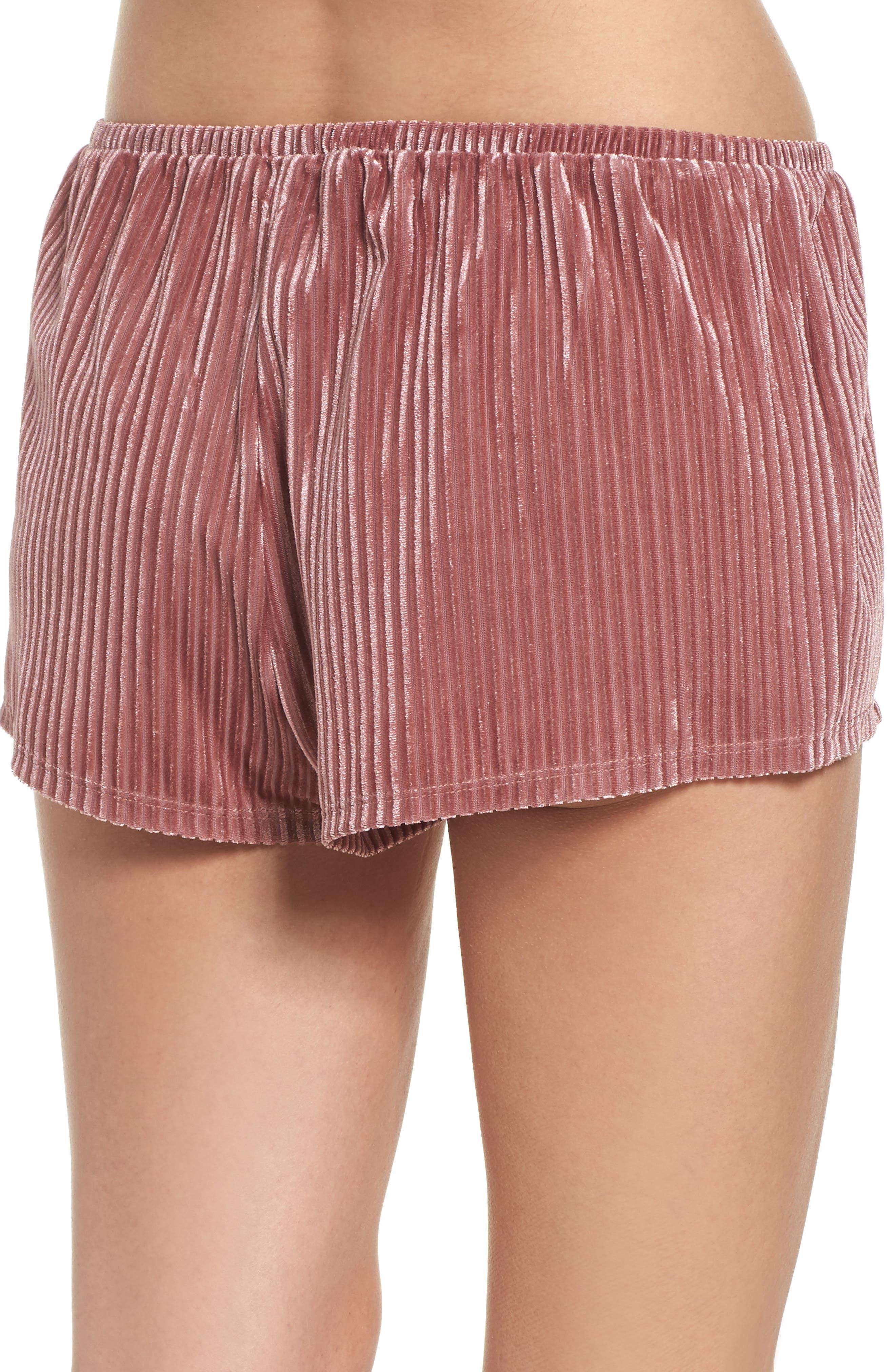 Velvet Pajama Shorts,                             Alternate thumbnail 2, color,                             Rose