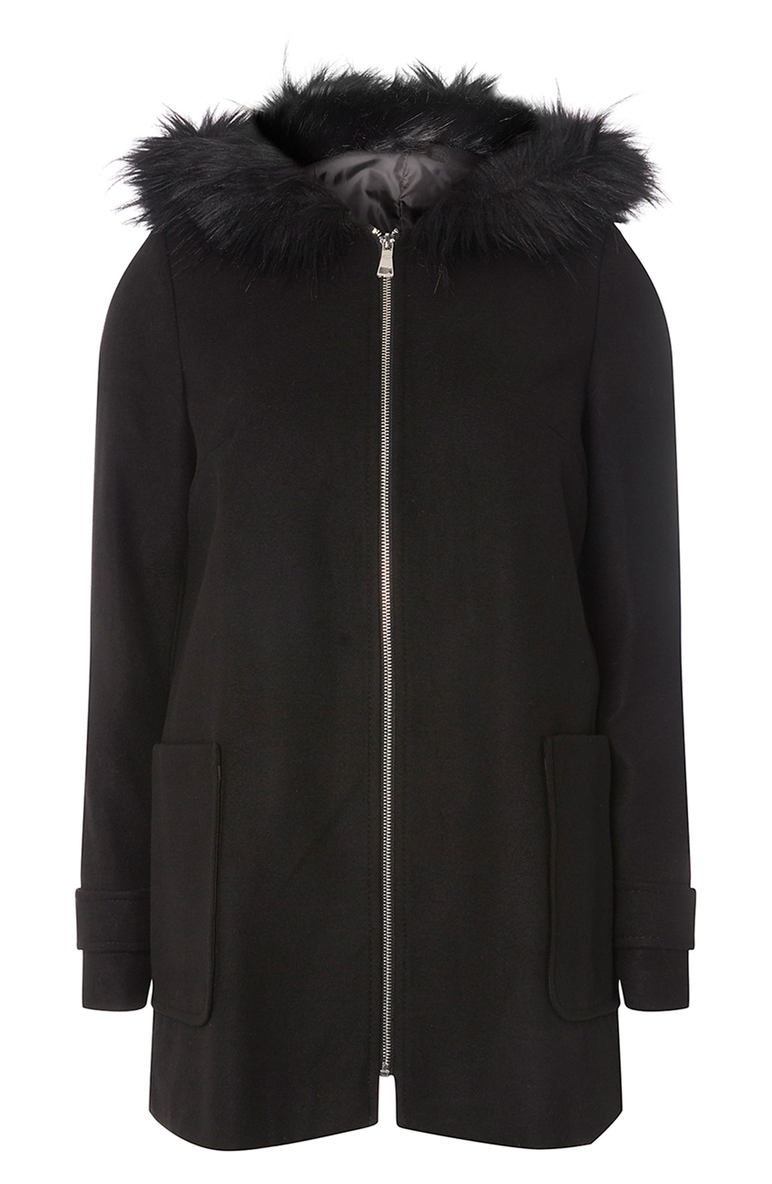 Hooded Duffle Coat with Faux Fur Trim,                             Alternate thumbnail 4, color,                             Black