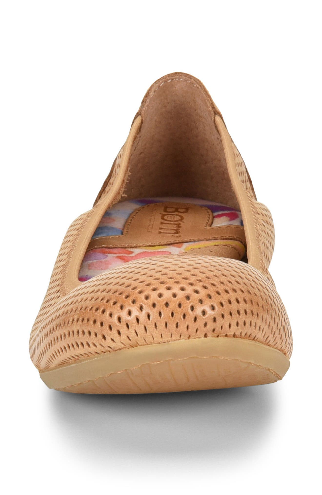 Julianne Perforated Flat,                             Alternate thumbnail 4, color,                             Tan Leather