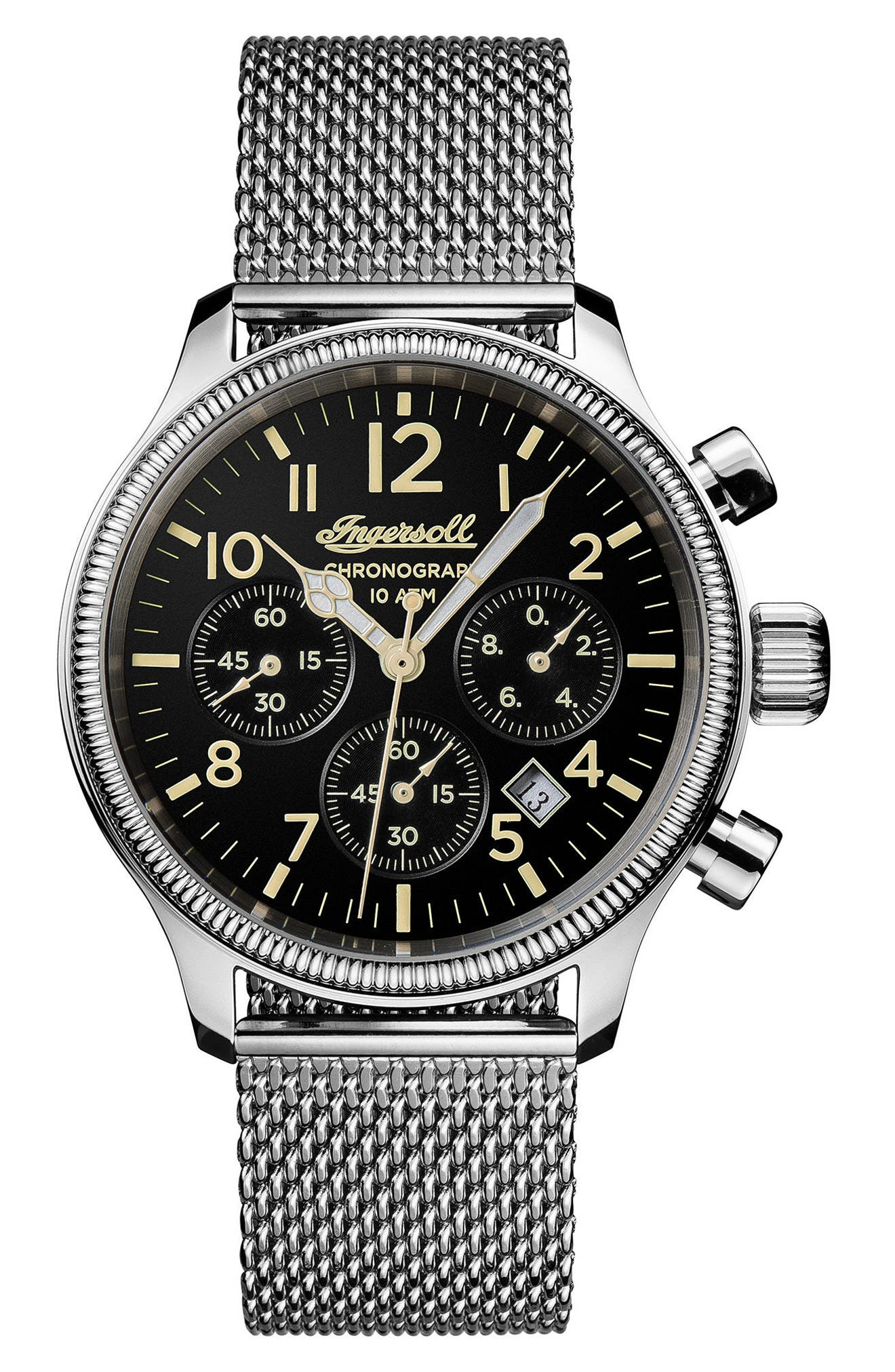 Ingersoll Apsley Chronograph Mesh Strap Watch, 45mm,                         Main,                         color, Silver/ Black/ Silver