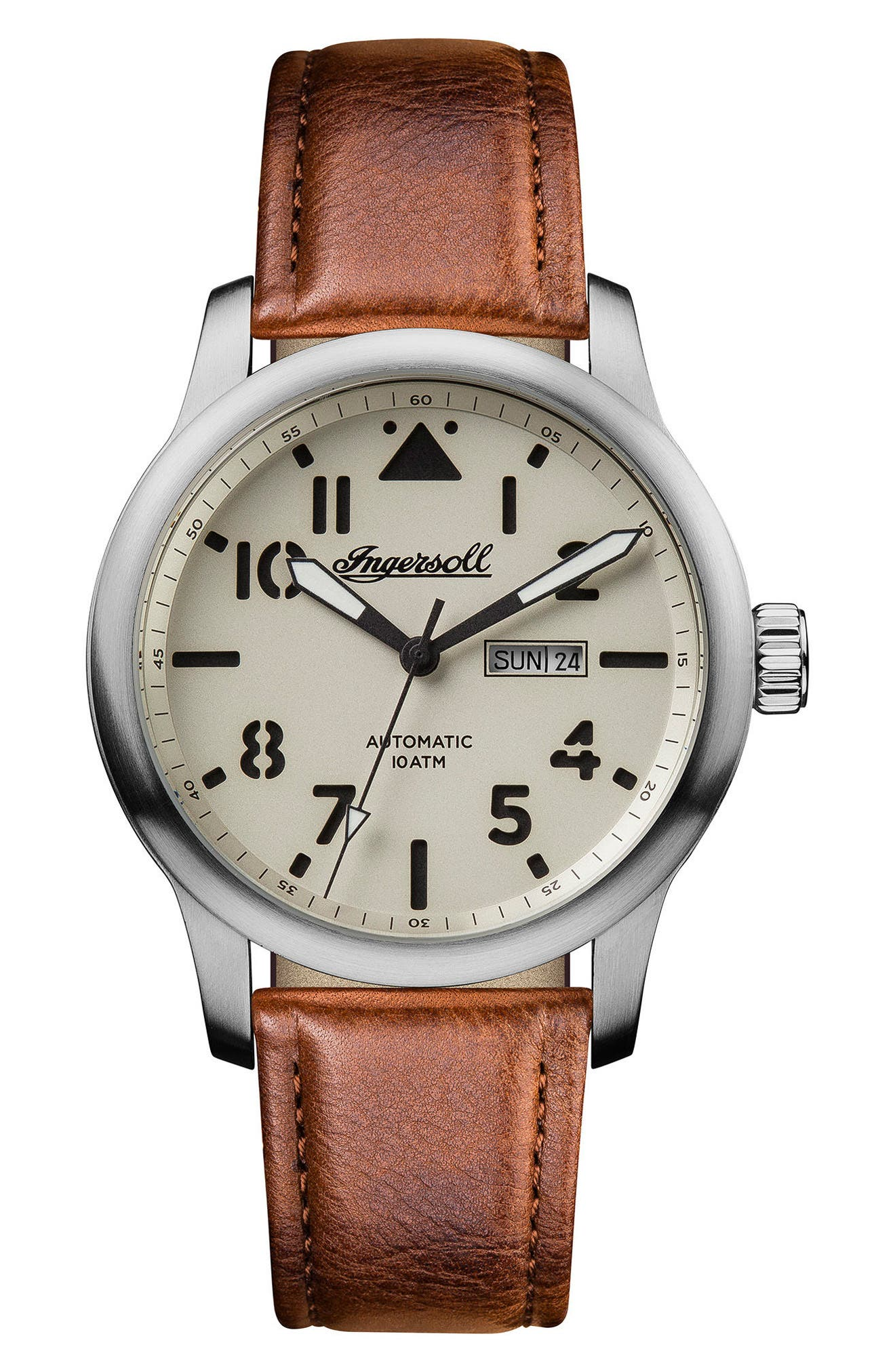 Ingersoll Hatton Automatic Leather Strap Watch, 46mm,                         Main,                         color, Brown/ Cream/ Silver