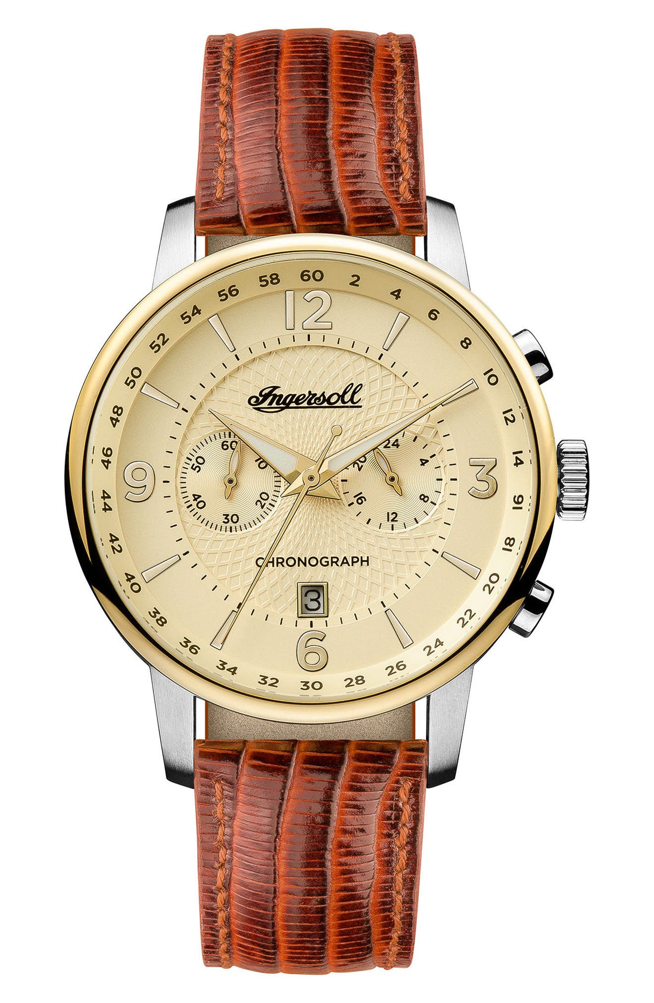 Ingersoll Grafton Chronograph Leather Strap Watch, 42mm,                         Main,                         color, Tan/ Cream/ Gold