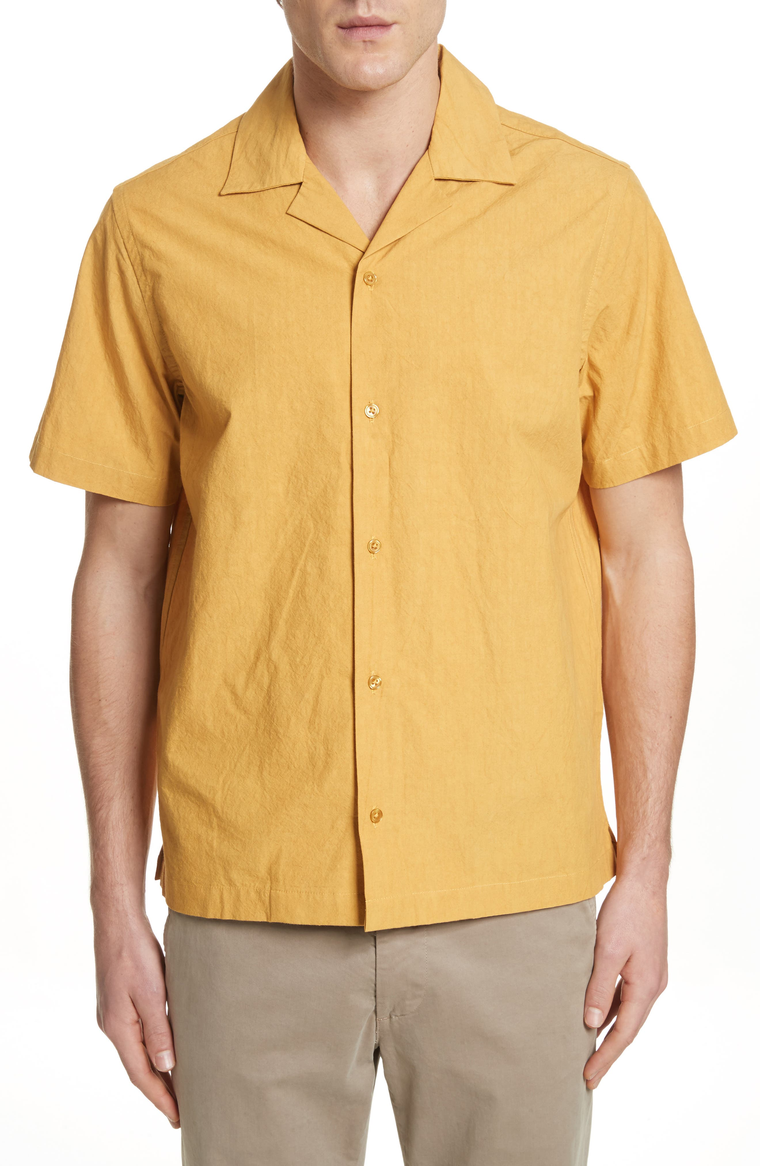 Canty Woven Camp Shirt,                         Main,                         color, Dusty Amber
