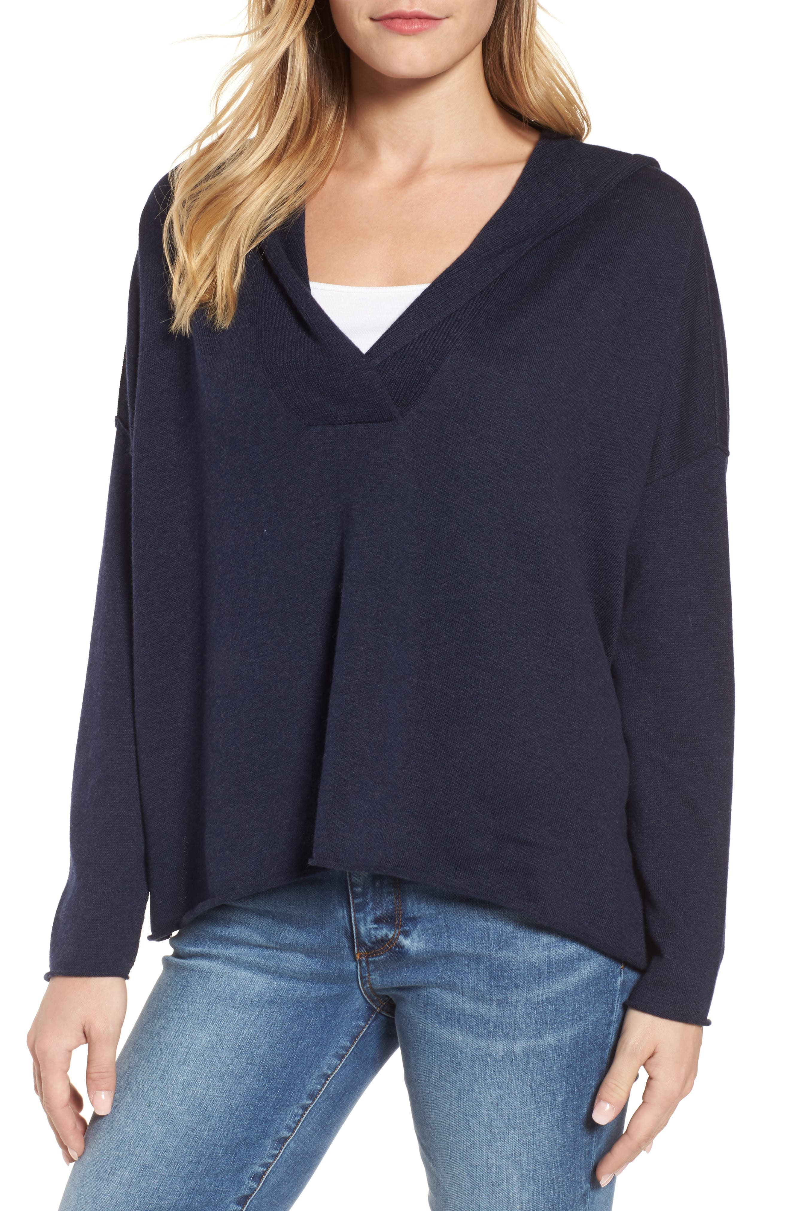Hooded Organic Cotton Box Sweater,                         Main,                         color, Midnight