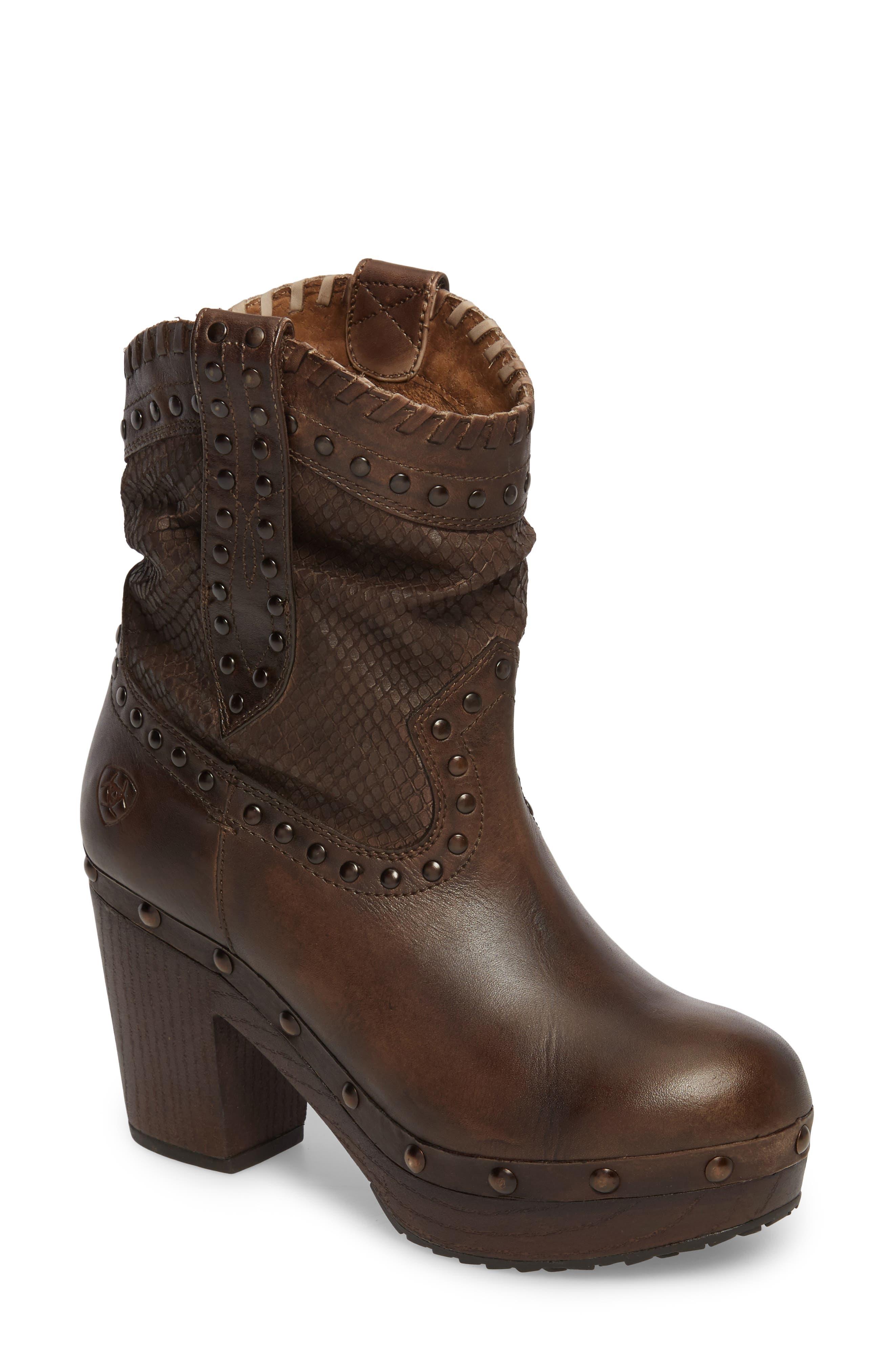 Memphis Platform Boot,                             Main thumbnail 1, color,                             Distressed Brown Leather