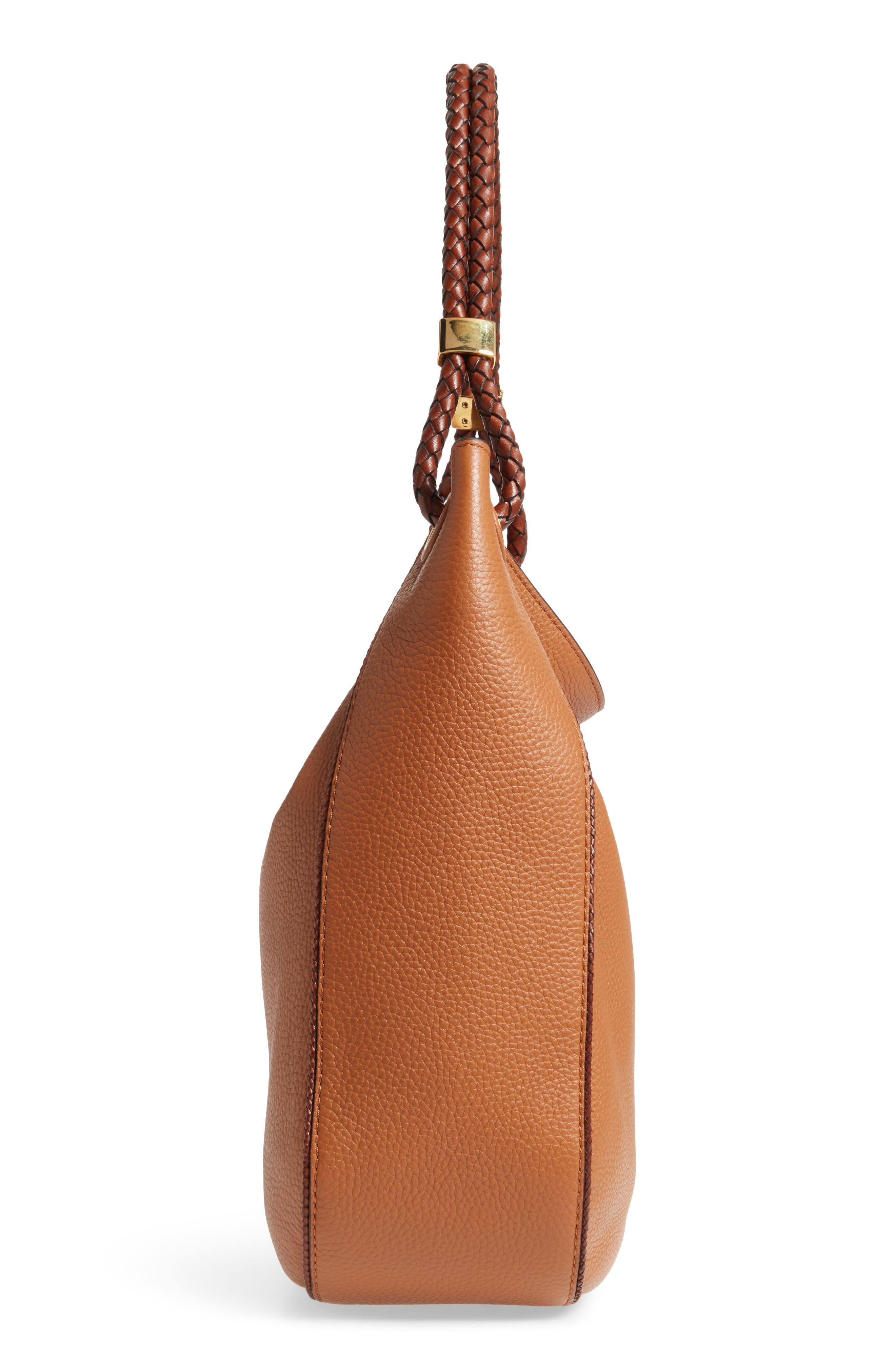 Skorpios Leather Hobo,                             Alternate thumbnail 3, color,                             Acorn
