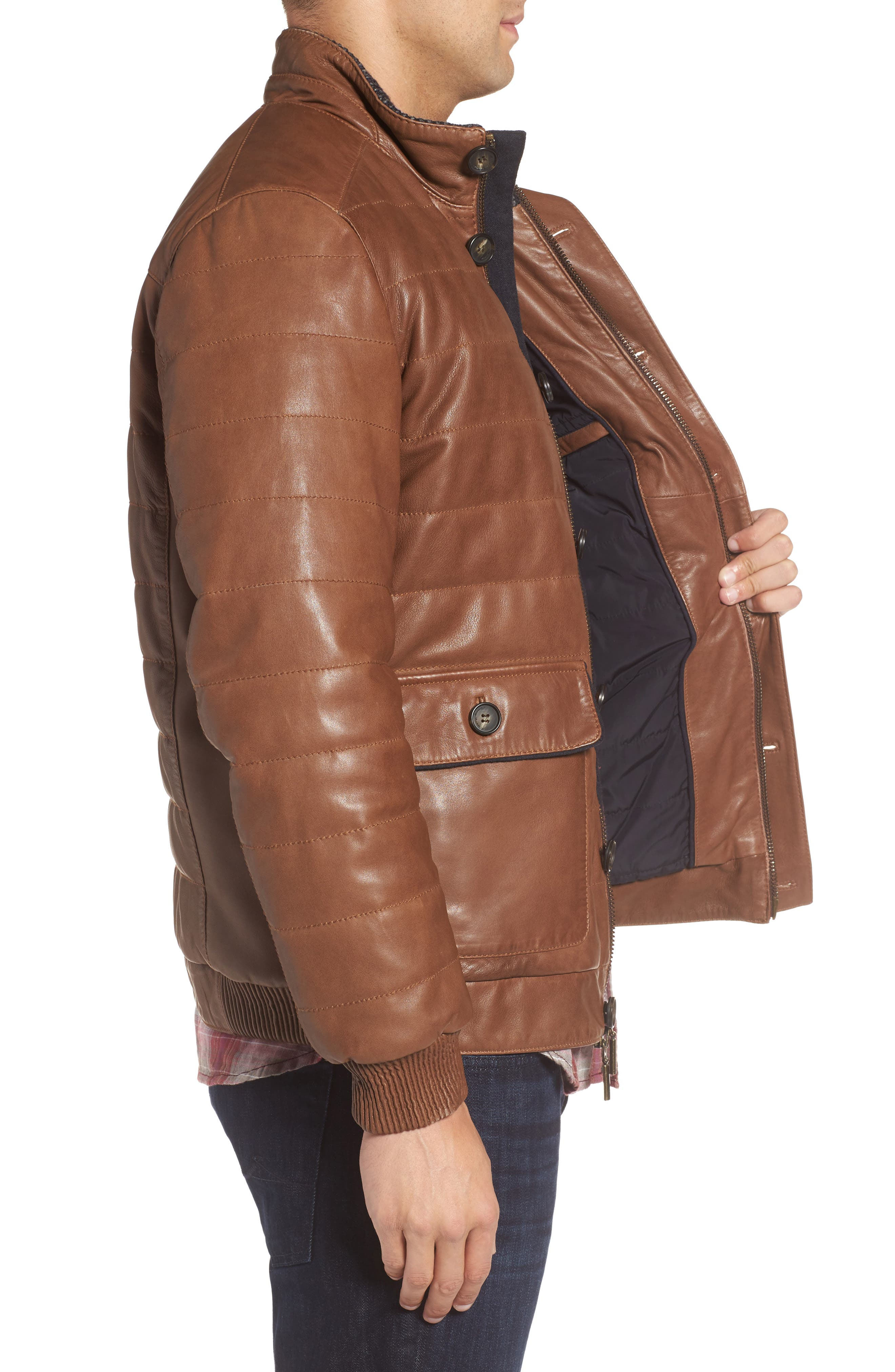 Snowside Leather Bomber Jacket,                             Alternate thumbnail 3, color,                             Brown Enough