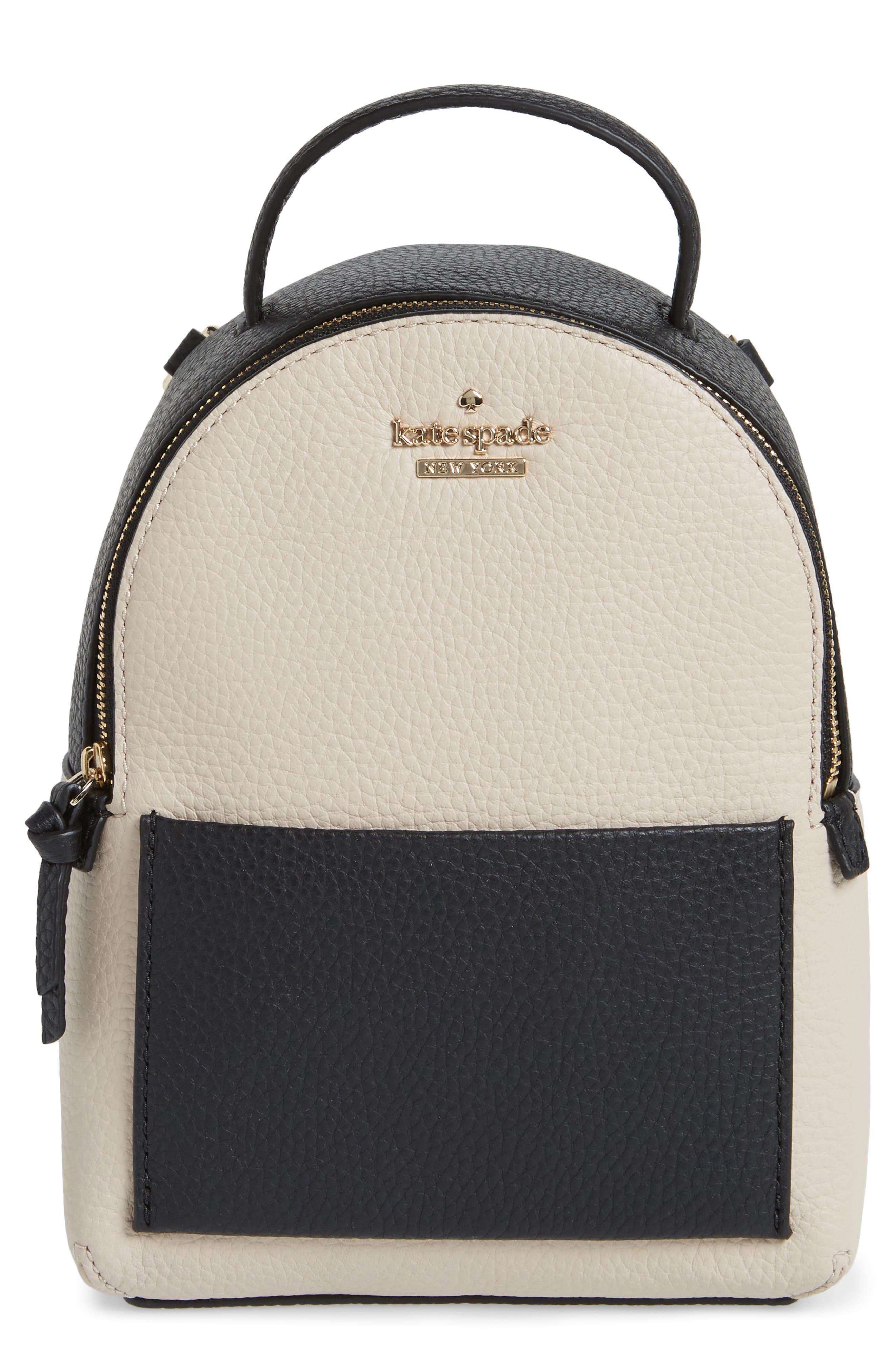 jackson street merry convertible leather backpack,                             Main thumbnail 1, color,                             Black/ Soft Porcelain
