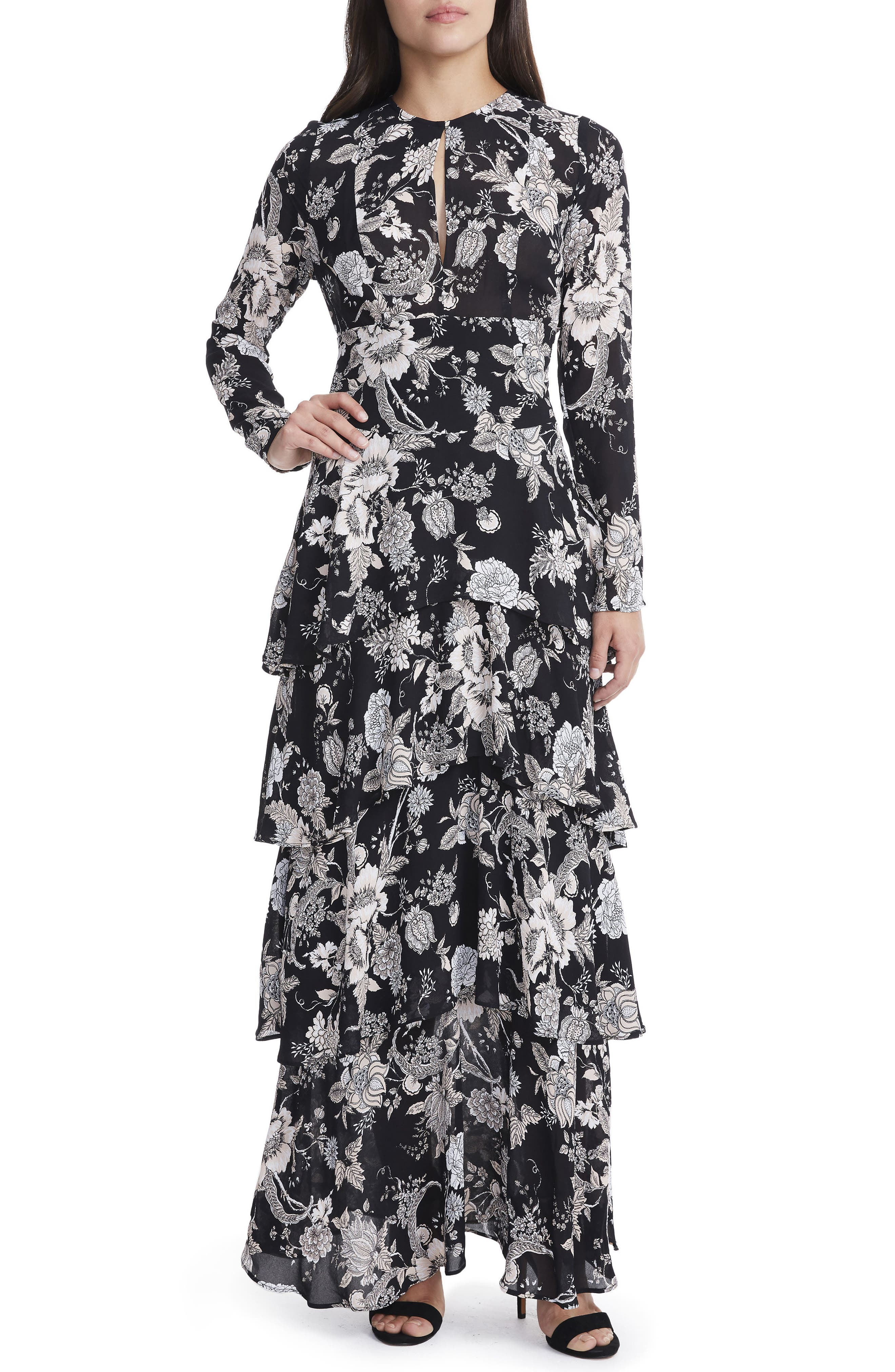 Amabella Tiered Maxi Dress,                         Main,                         color, Noir Bouquet