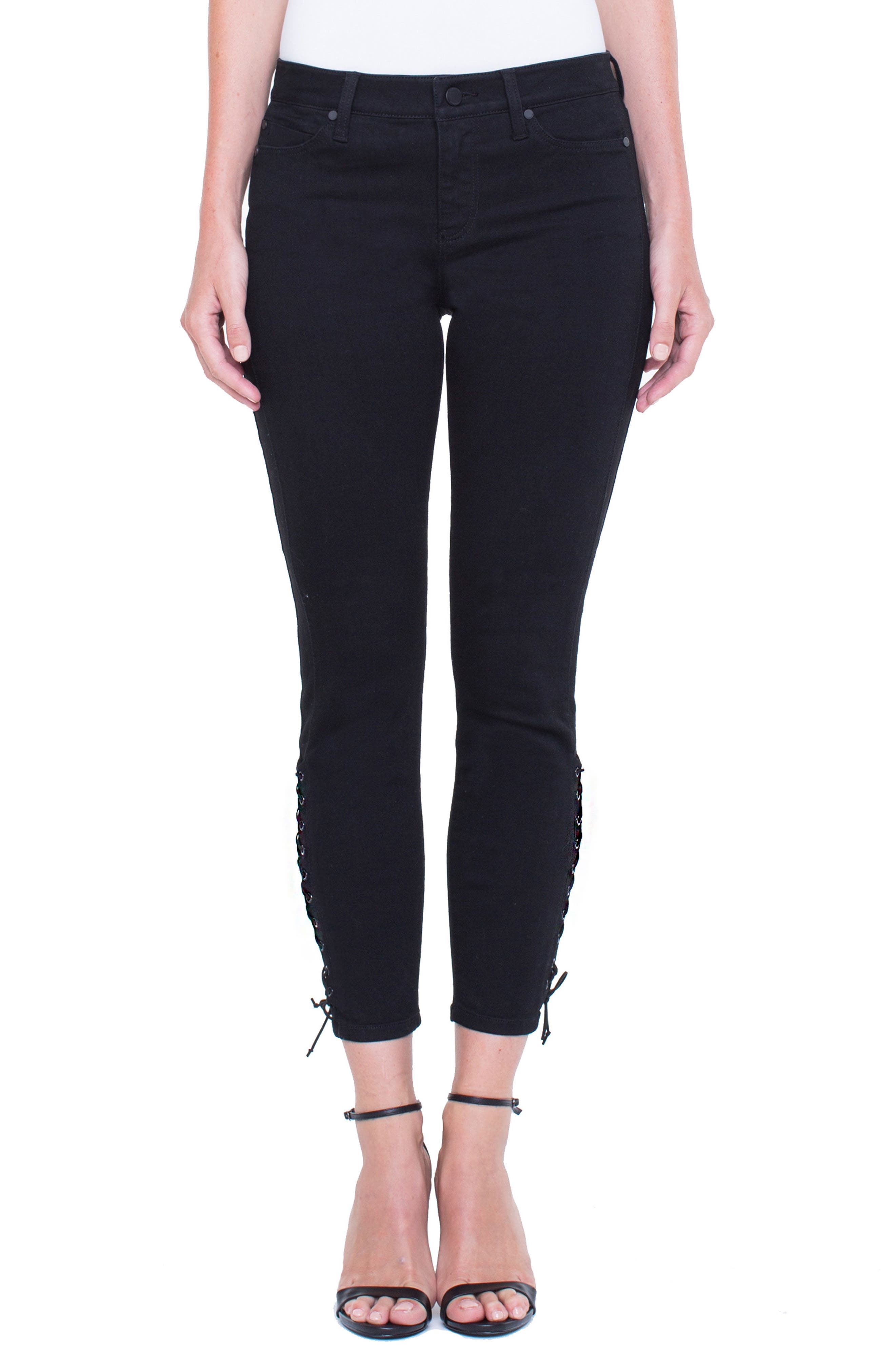 Alyssa Lace-Up Crop Skinny Jeans,                             Main thumbnail 1, color,                             Black Rinse