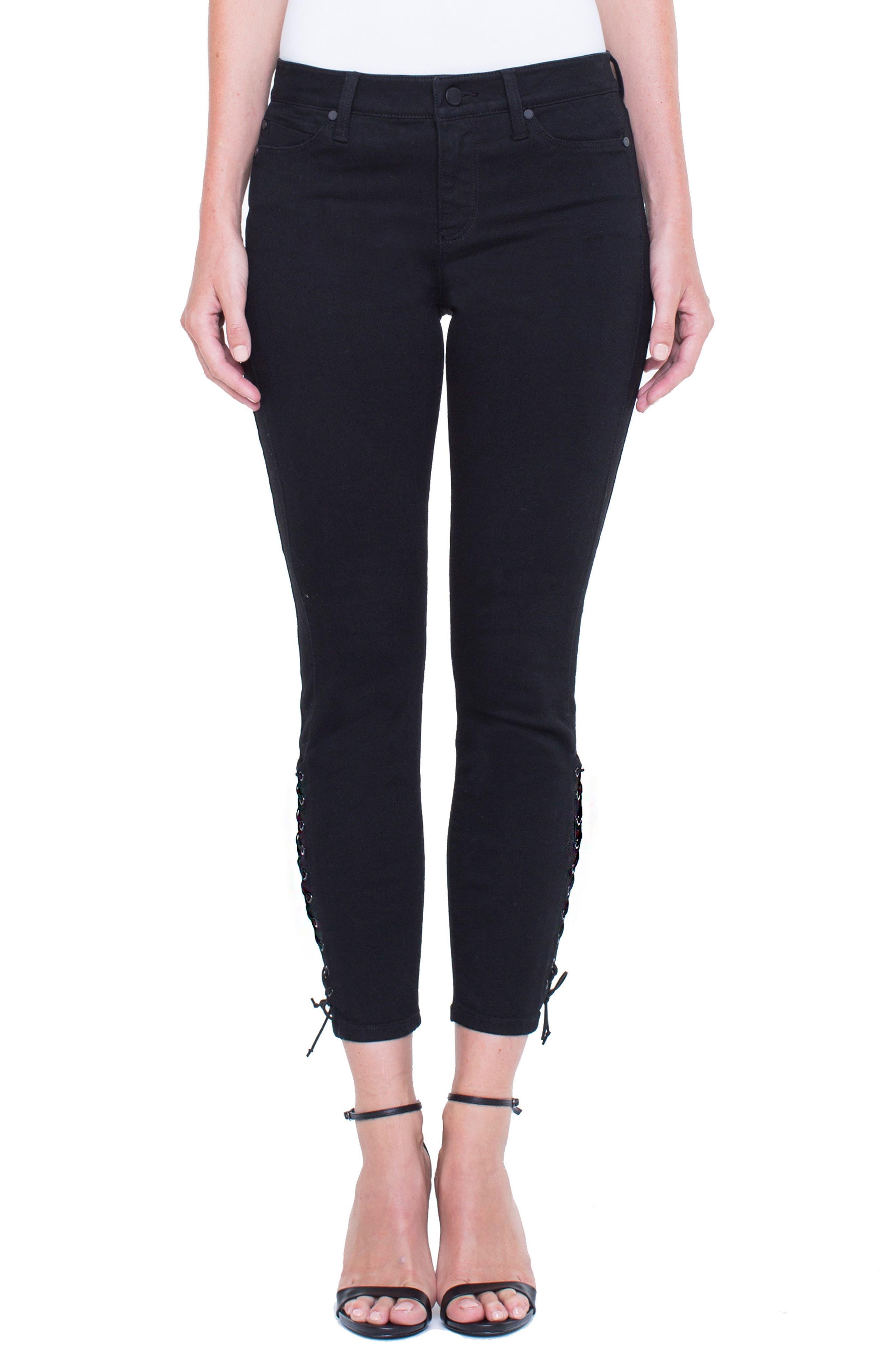 Alyssa Lace-Up Crop Skinny Jeans,                         Main,                         color, Black Rinse