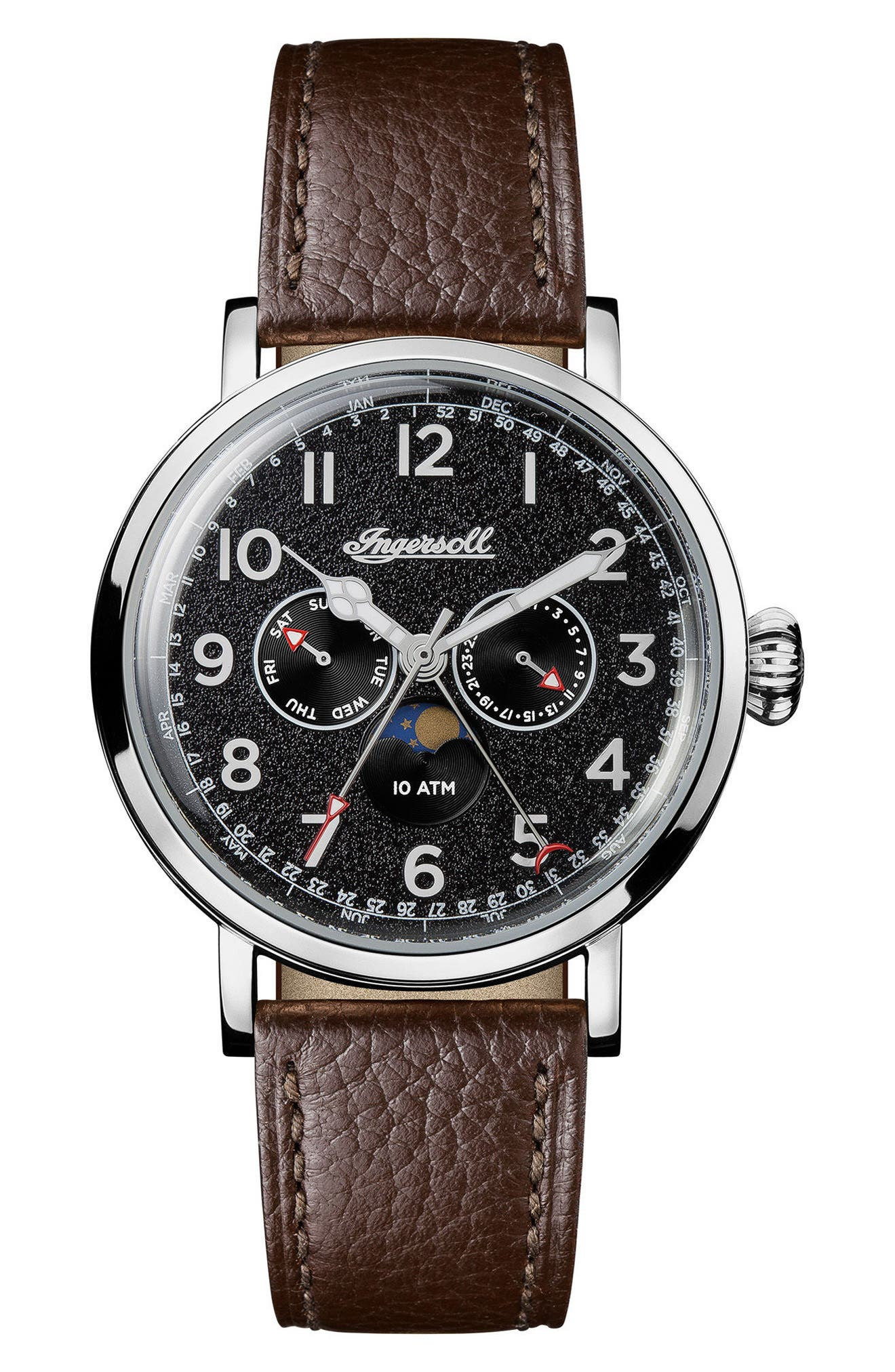 Ingersoll St. John Moonphase Leather Strap Watch, 44mm,                         Main,                         color, Brown/ Black/ Silver
