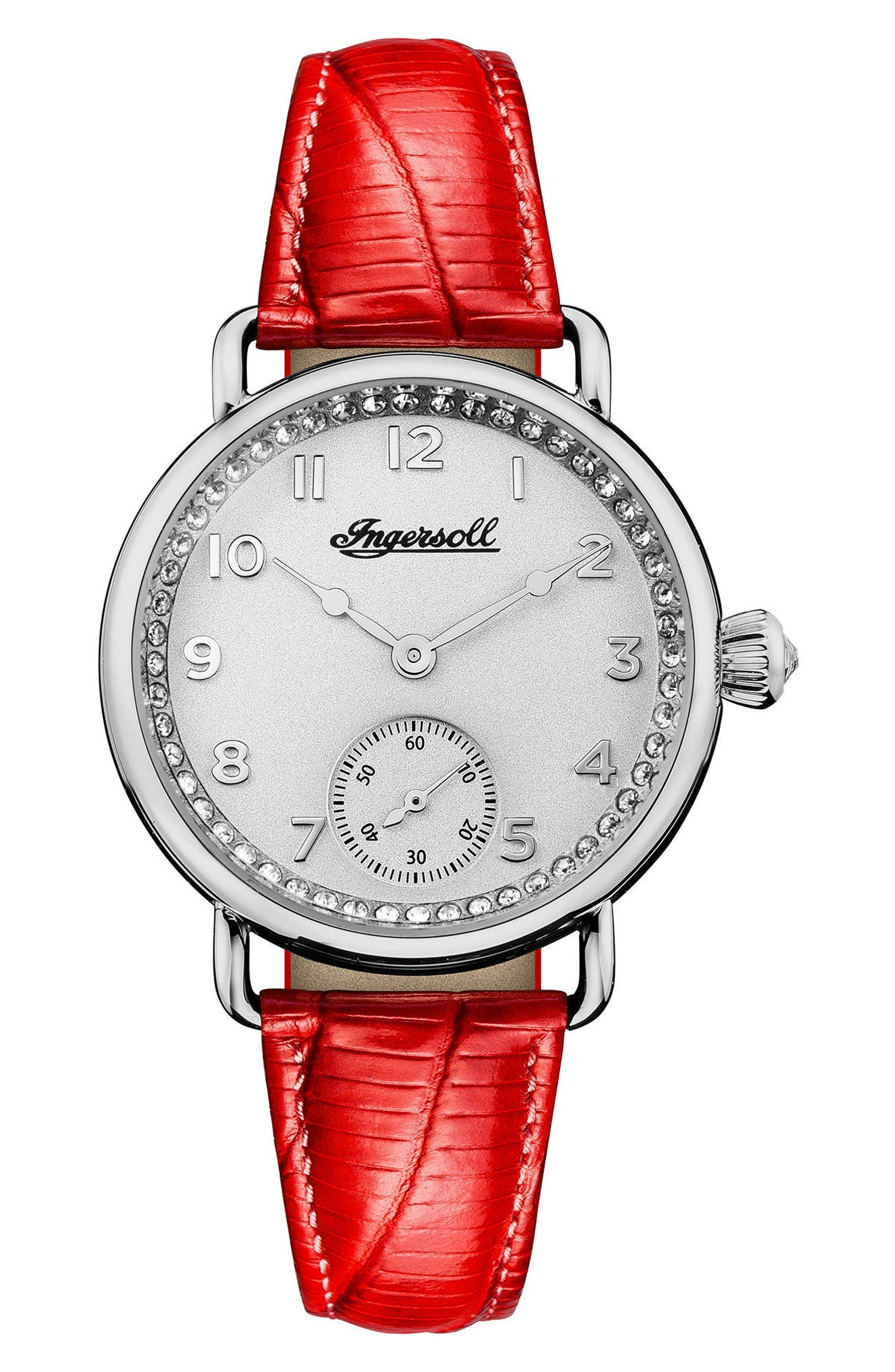 Ingersoll Trenton Leather Strap Watch, 34mm,                             Main thumbnail 1, color,                             Red/ Silver
