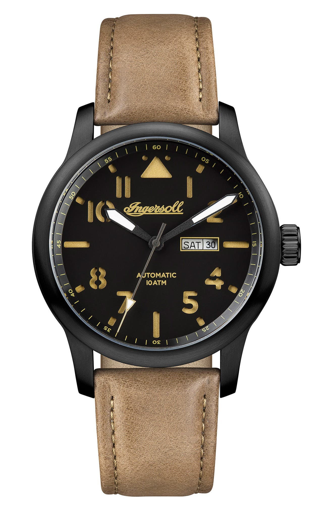 Ingersoll Hatton Automatic Leather Strap Watch, 46mm,                             Main thumbnail 1, color,                             Brown/ Black