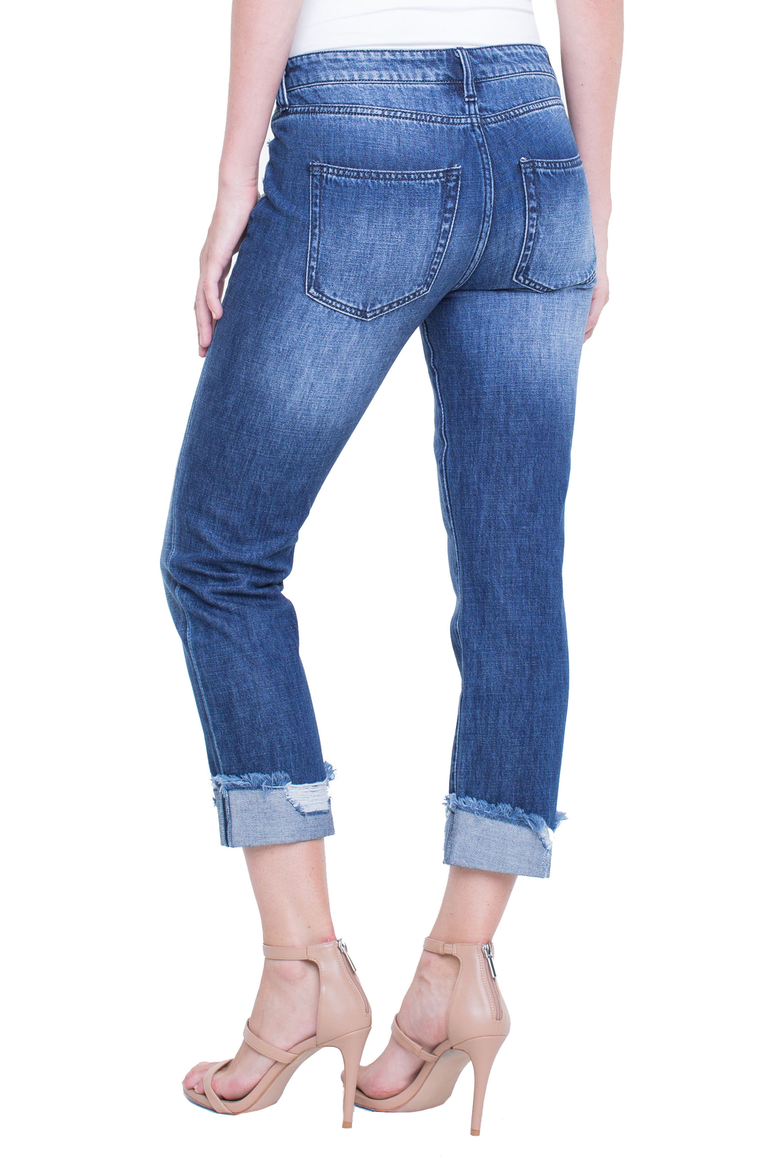 Kennedy Distressed Raw Hem Crop Boyfriend Jeans,                             Alternate thumbnail 2, color,                             Destruct