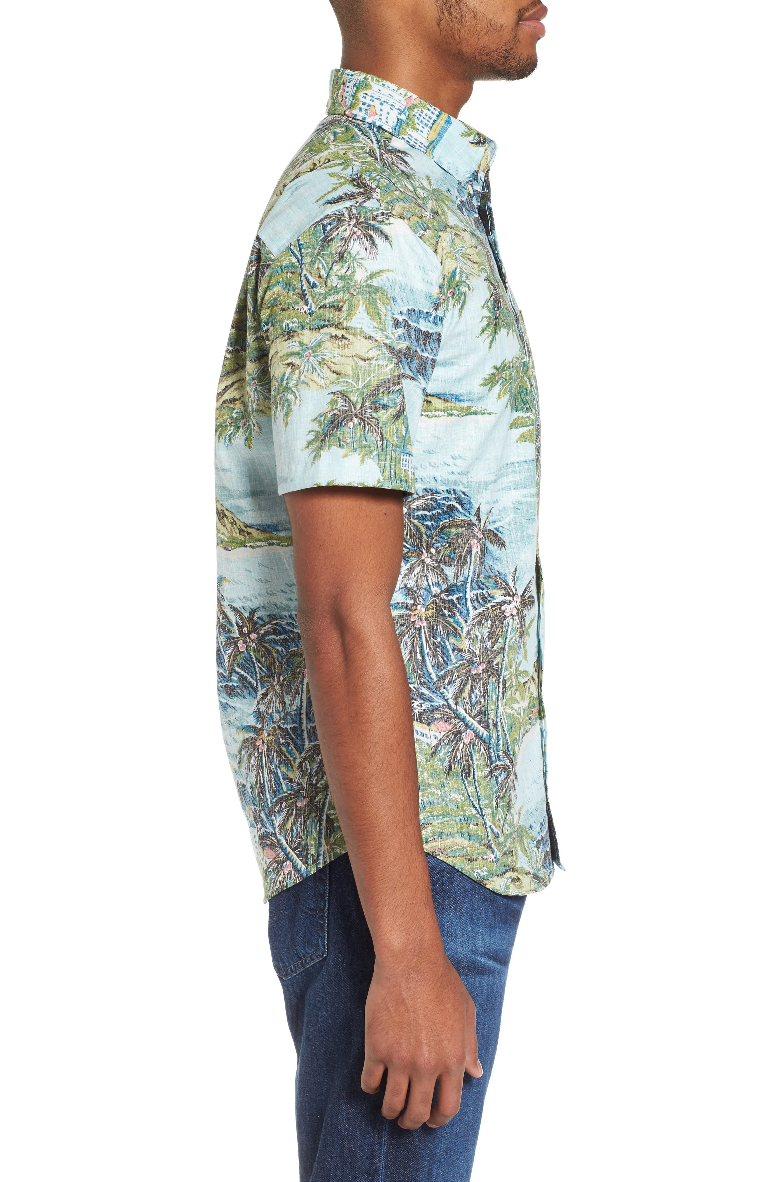 Diamond Head Classic Fit Print Sport Shirt,                             Alternate thumbnail 3, color,                             Pale Blue