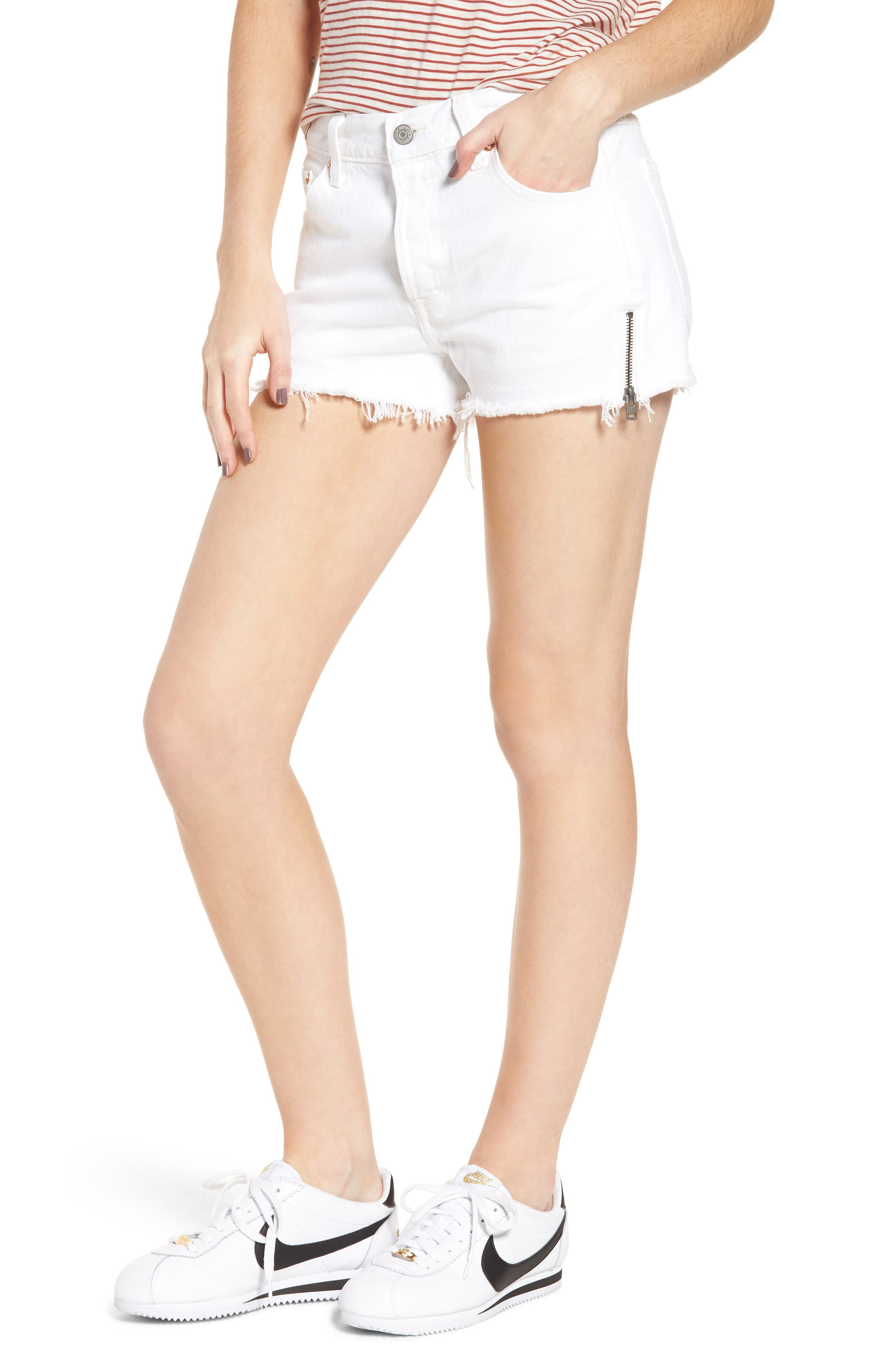 501<sup>®</sup> Altered Zip Denim Shorts,                             Main thumbnail 1, color,                             Seeing White