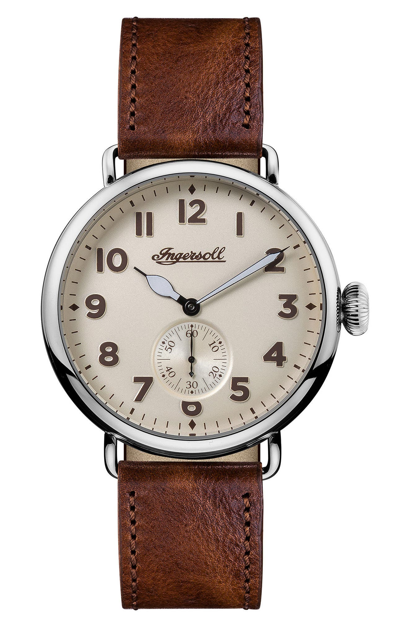 Ingersoll Trenton Leather Strap Watch, 44mm,                             Main thumbnail 1, color,                             Brown/ Beige/ Silver